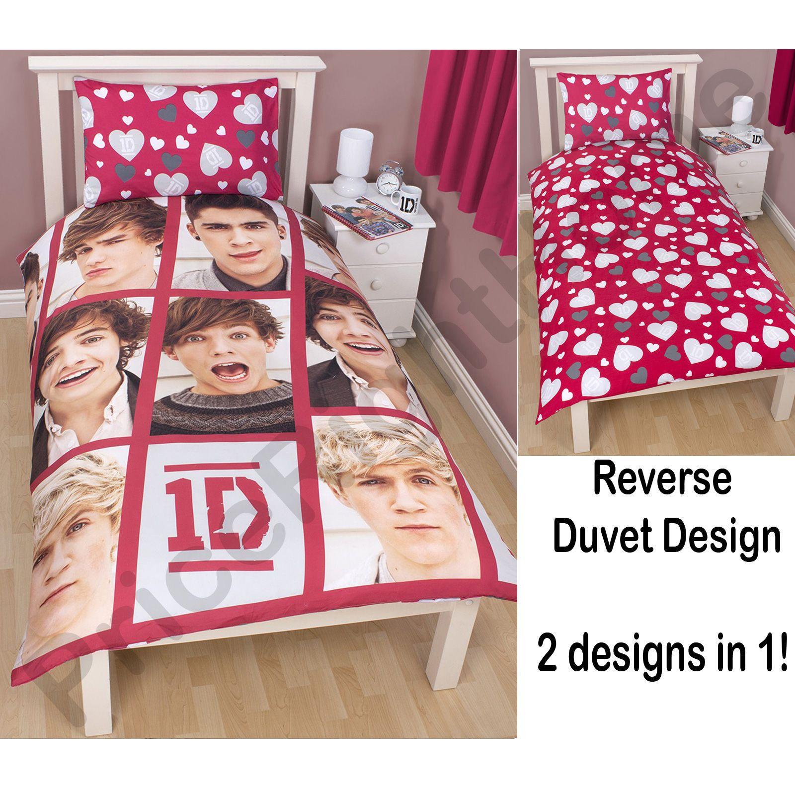 one direction single and double reversible duvet cover bedding set ebay. Black Bedroom Furniture Sets. Home Design Ideas