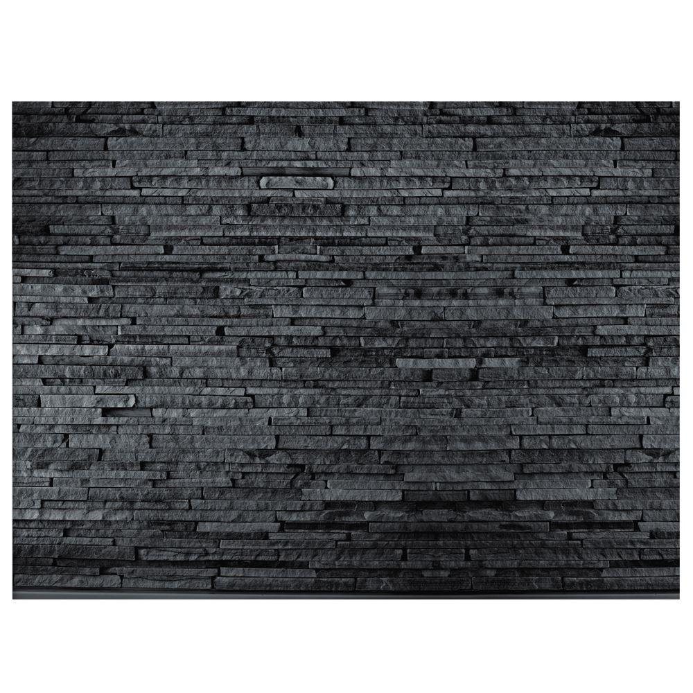 Ardesia carta da parati murale nero grigio effetto mattoni for Carta da parati adesiva effetto mattone