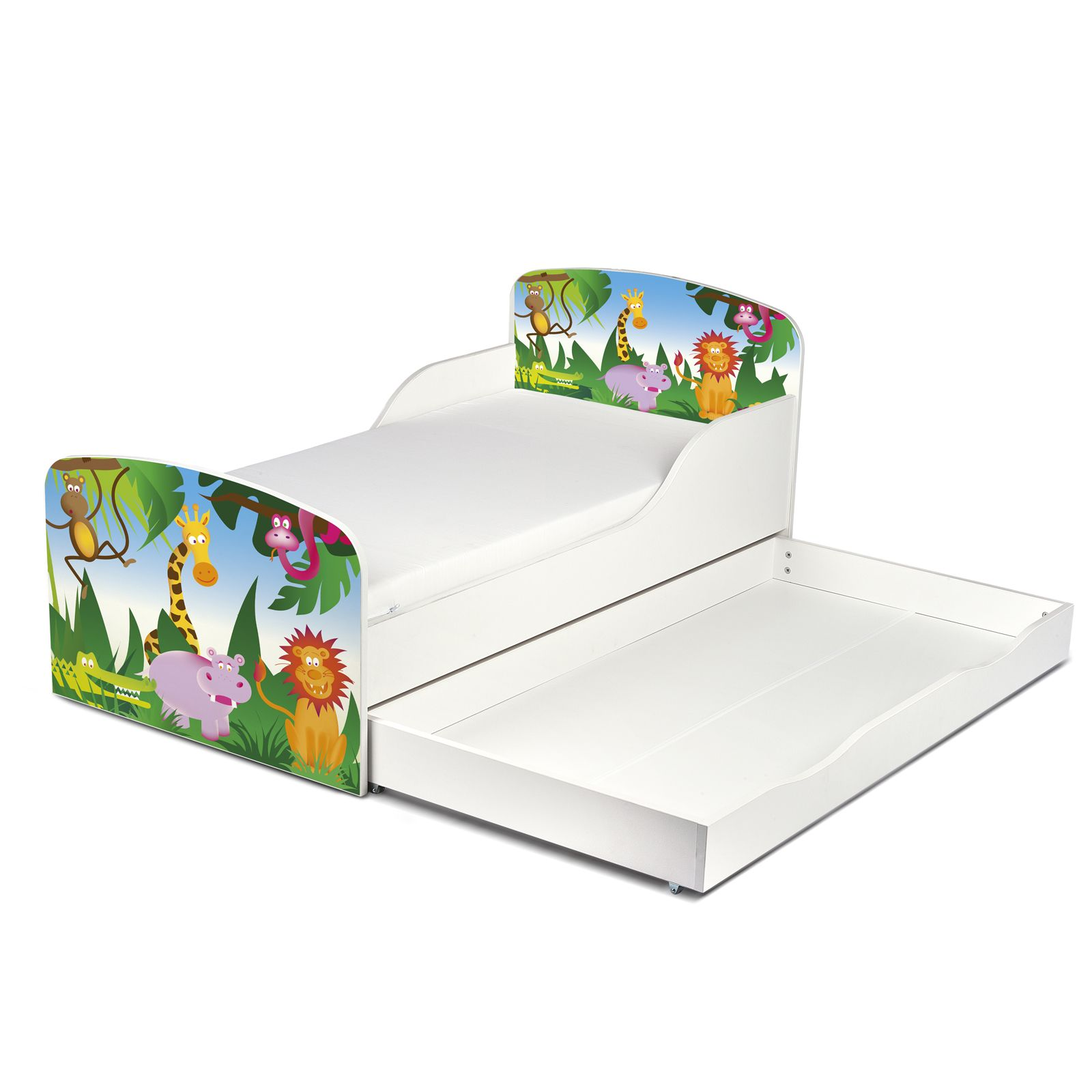 animaux de la jungle mdf lit enfant matelas avec. Black Bedroom Furniture Sets. Home Design Ideas