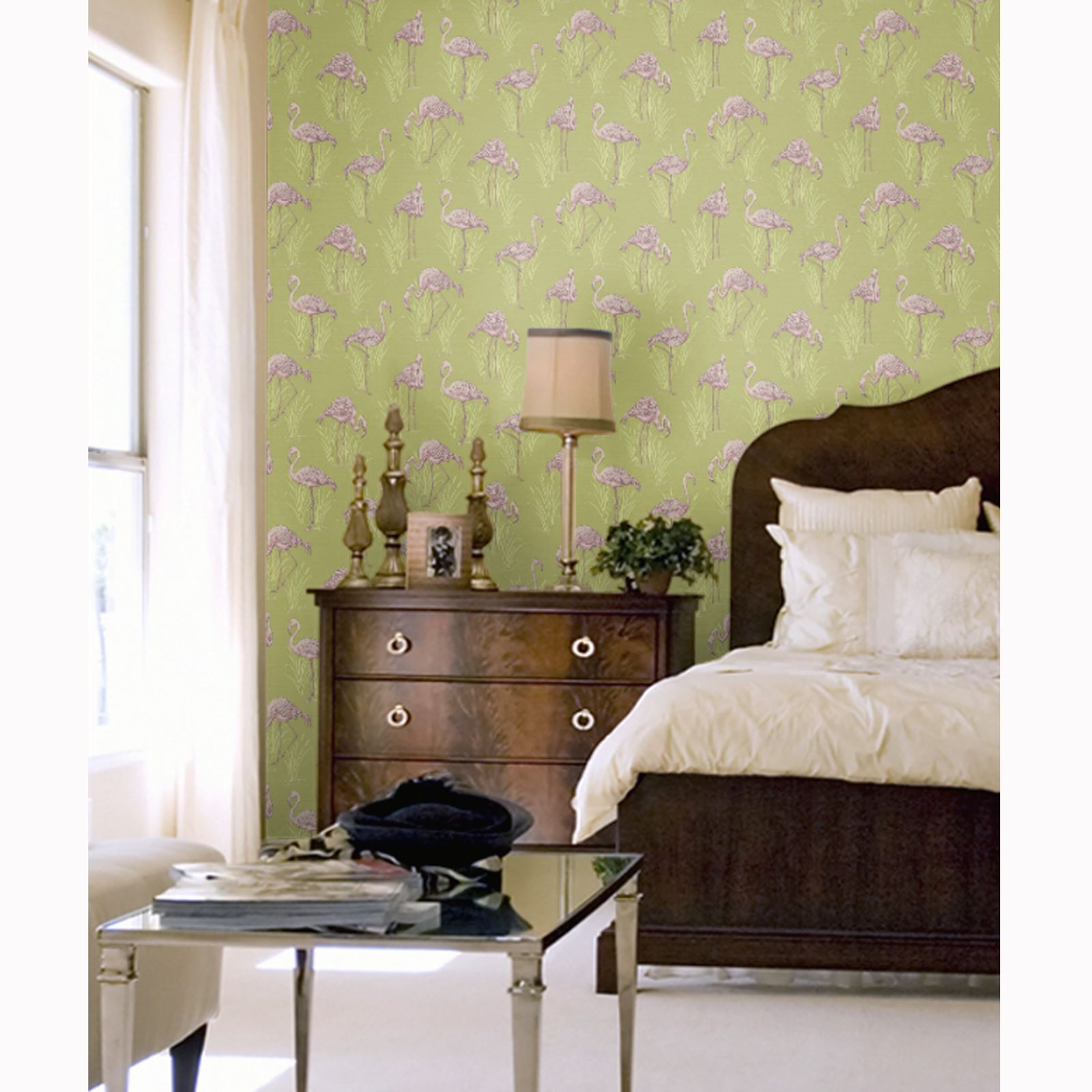 Lagoon vintage flamingo feature wallpaper green pink for Green bedroom wallpaper