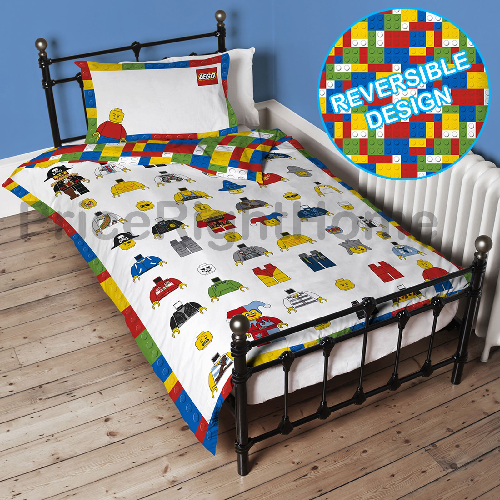 Spotty Wall Stickers Lego Classic Minifigures Single Duvet Cover Set Panel
