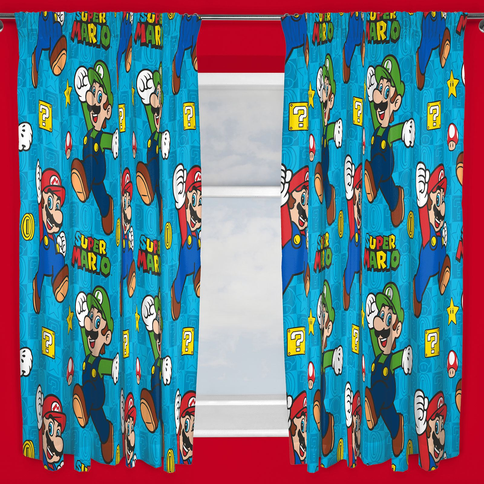 NINTENDO SUPER MARIO GAMES CURTAINS AVAILABLE IN TWO DROP