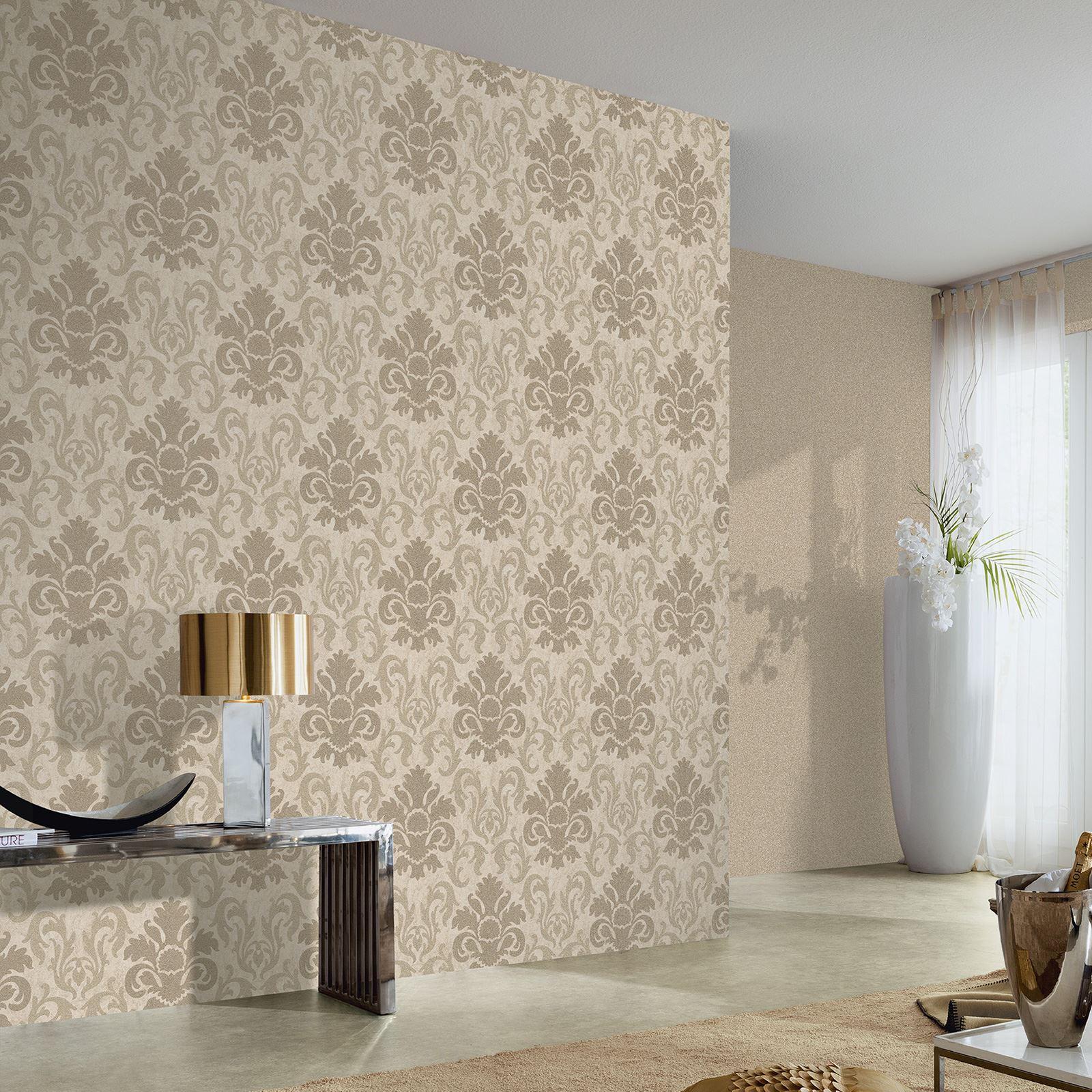 P s carat damask glitter wallpaper feature wall decor for Silver bedroom wall art