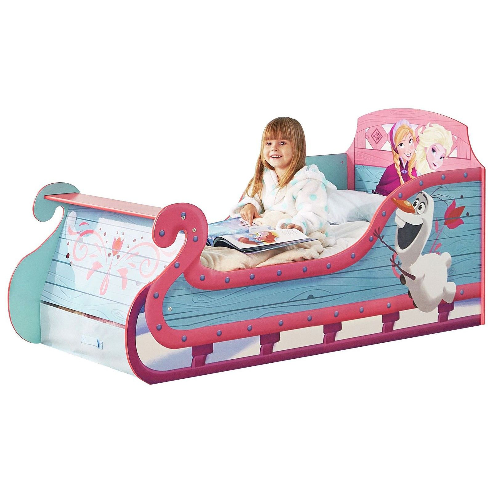 DISNEY FROZEN SLEIGH TODDLER BED WITH STORAGE MATTRESS