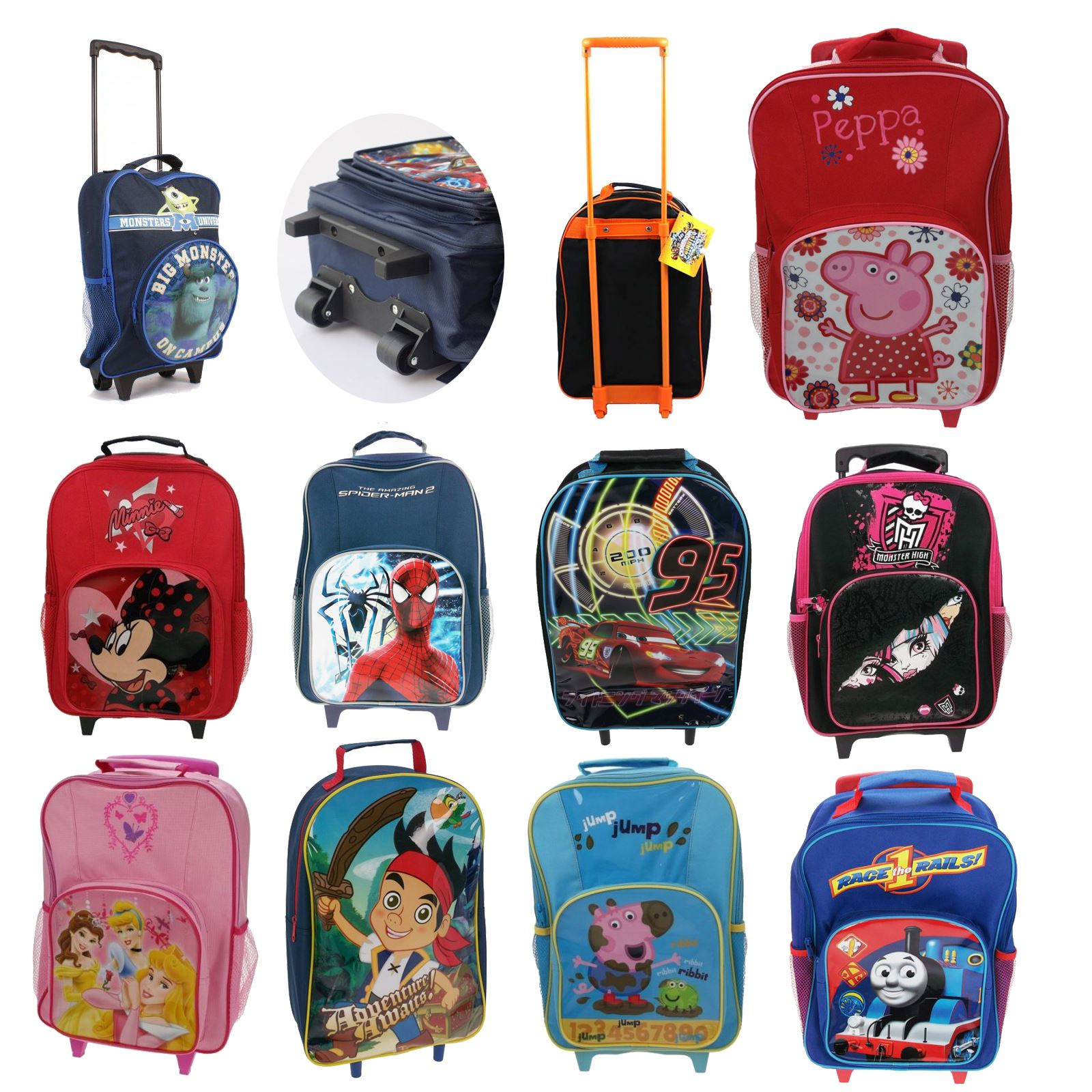 Childrens Disney And Character Wheeled Trolley Bag Suitcases Kids Travel Ebay