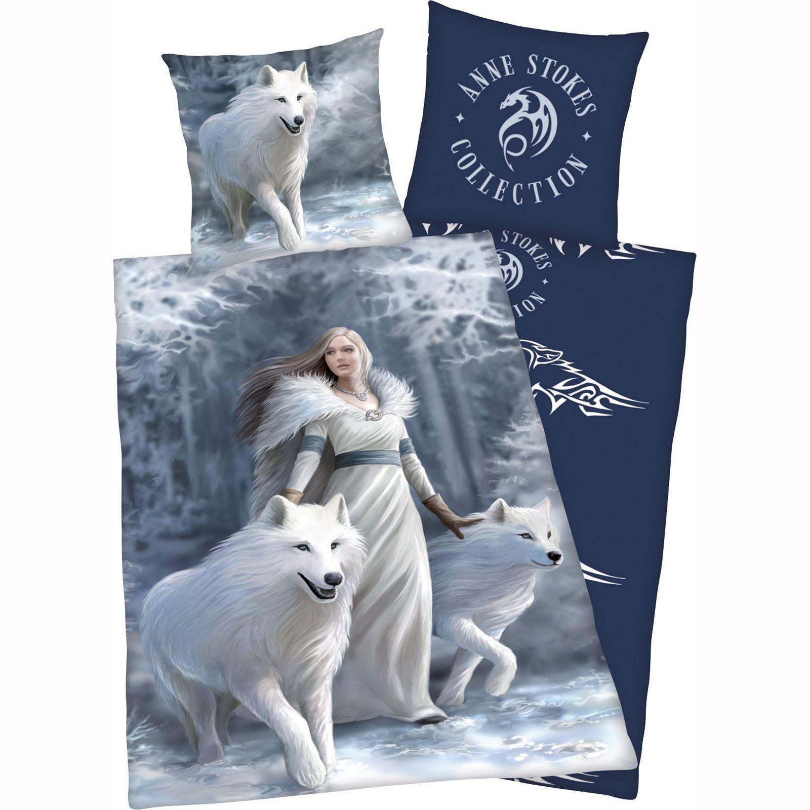 Anne Stokes Snow Queen Wolves Single Duvet Cover Set