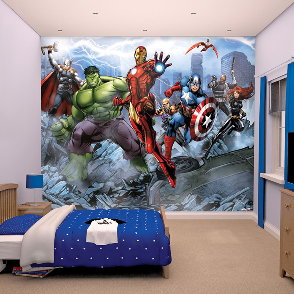 Marvel comics and avengers wallpaper wall murals d cor for Bedroom mural designs