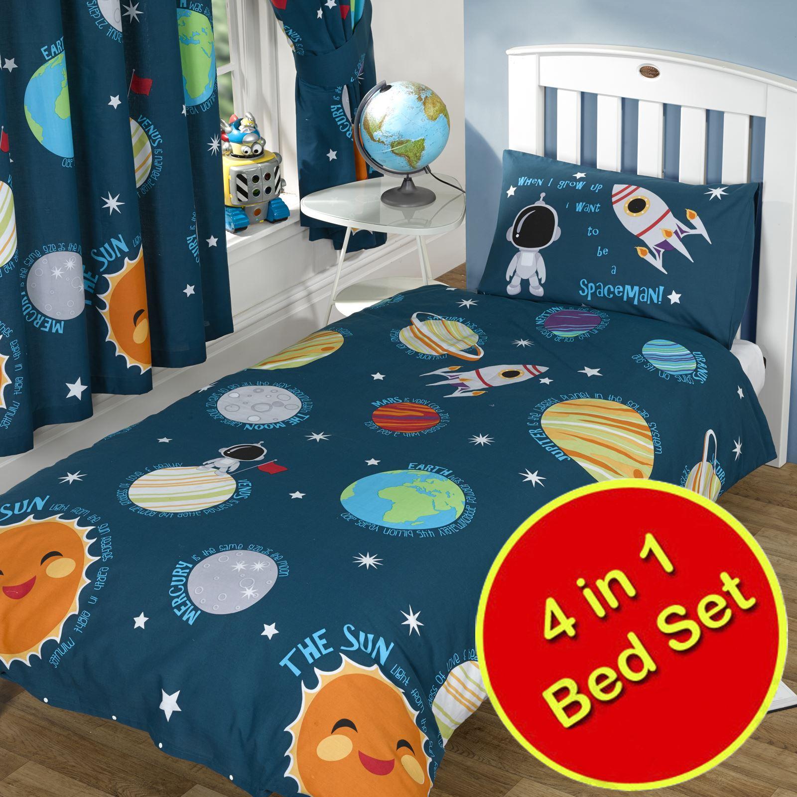 Solar system space bedding single double junior duvet for Housse de couette petit lit