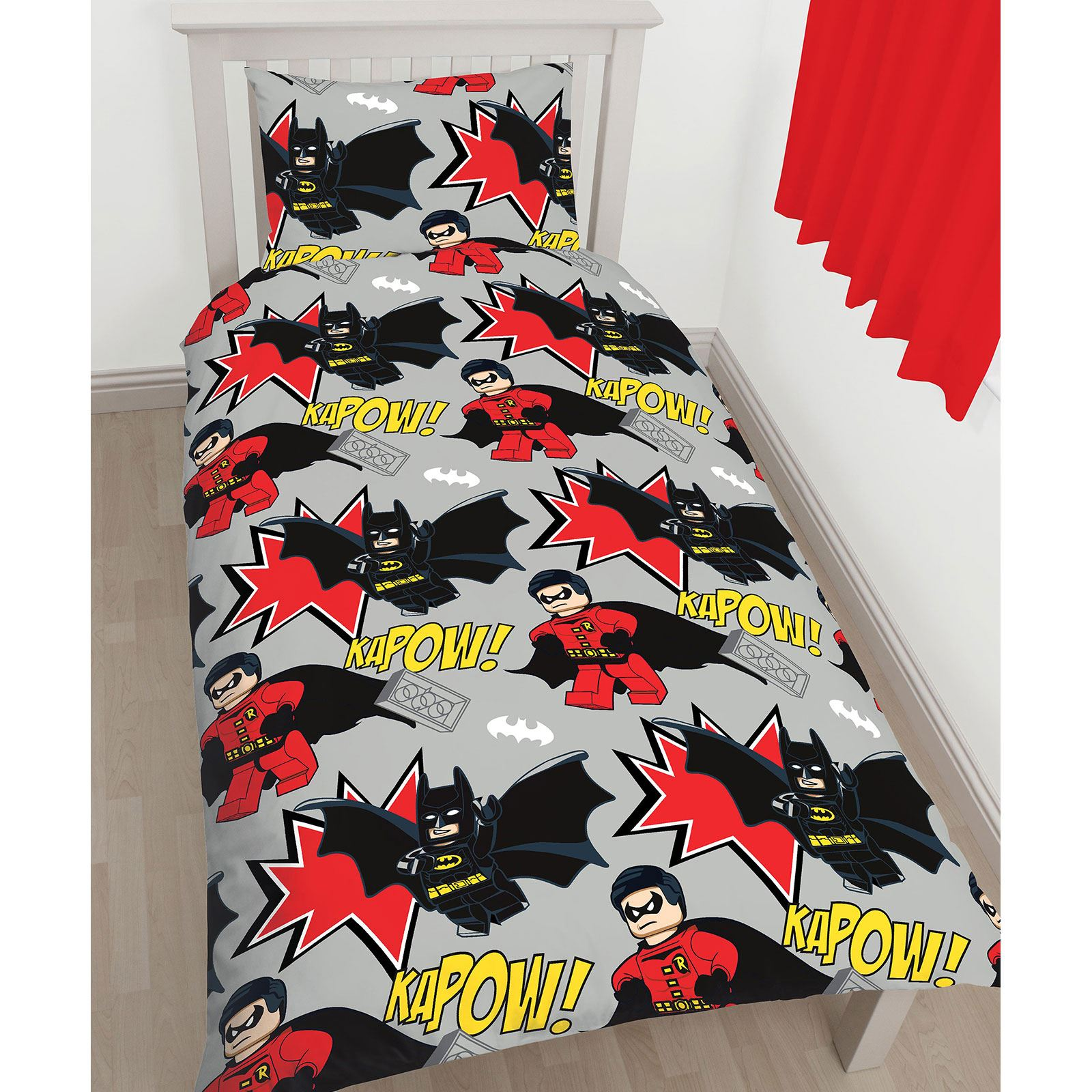 OFFICIAL LEGO DC SUPERHEROES BATMAN KAPOW TWIN DUVET COVER SET