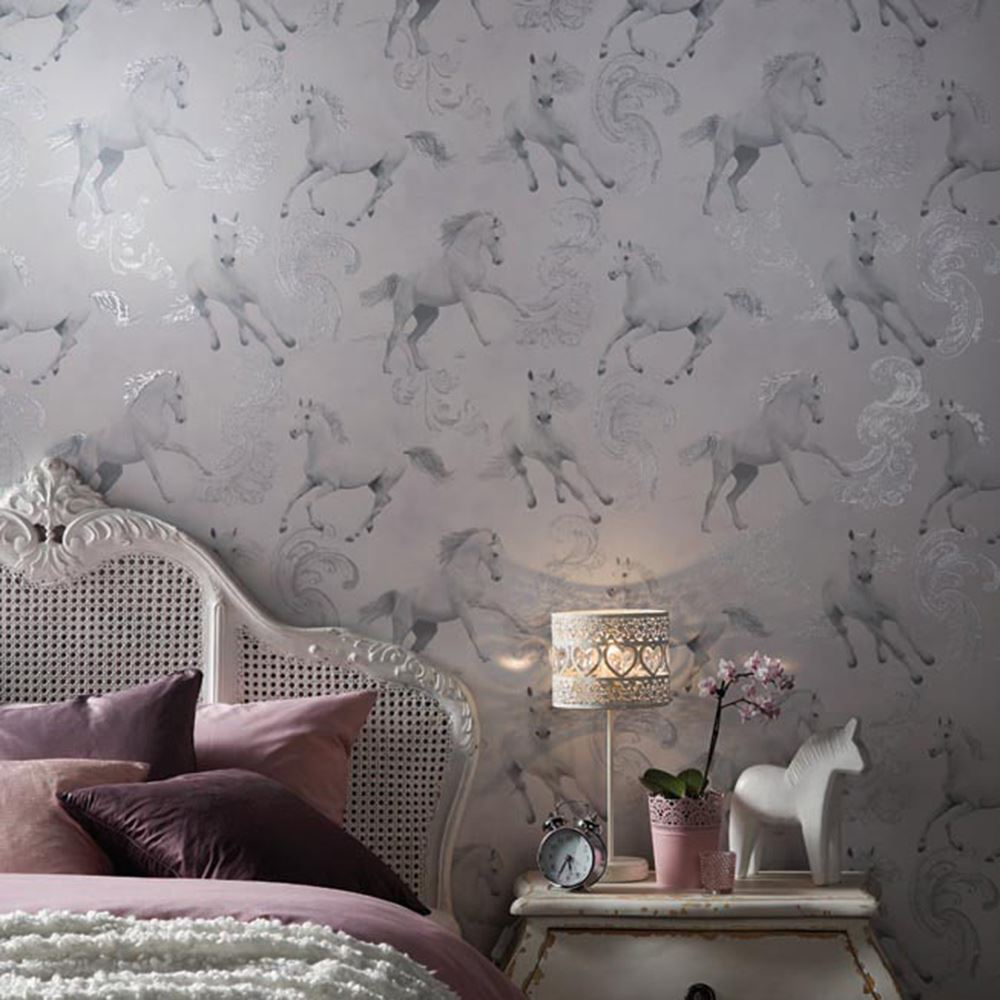 Girls chic wallpaper kids bedroom feature wall decor for Wallpaper decoration for bedroom