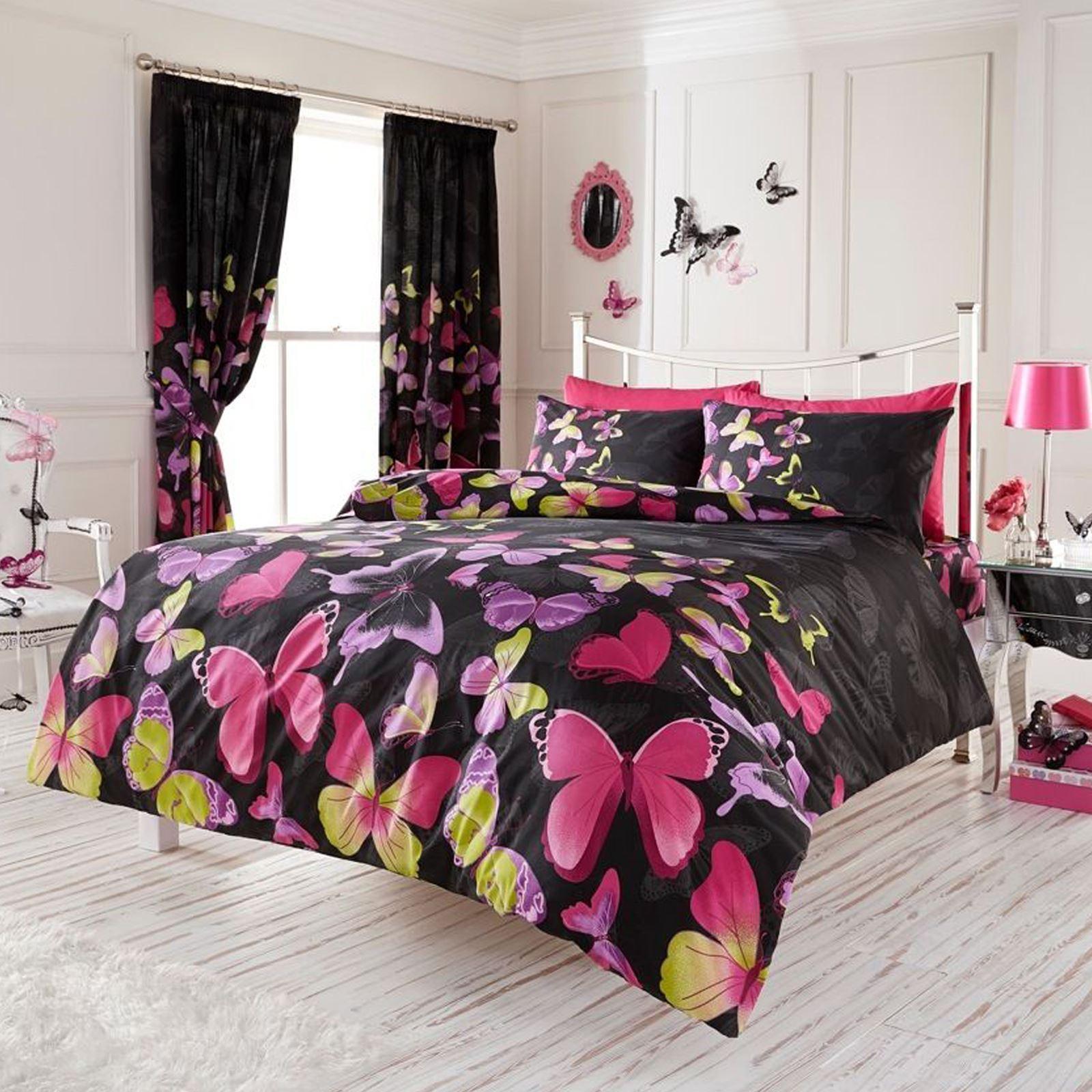 La mode papillon double jeu de housse de couette for Housse de couette noir et rose