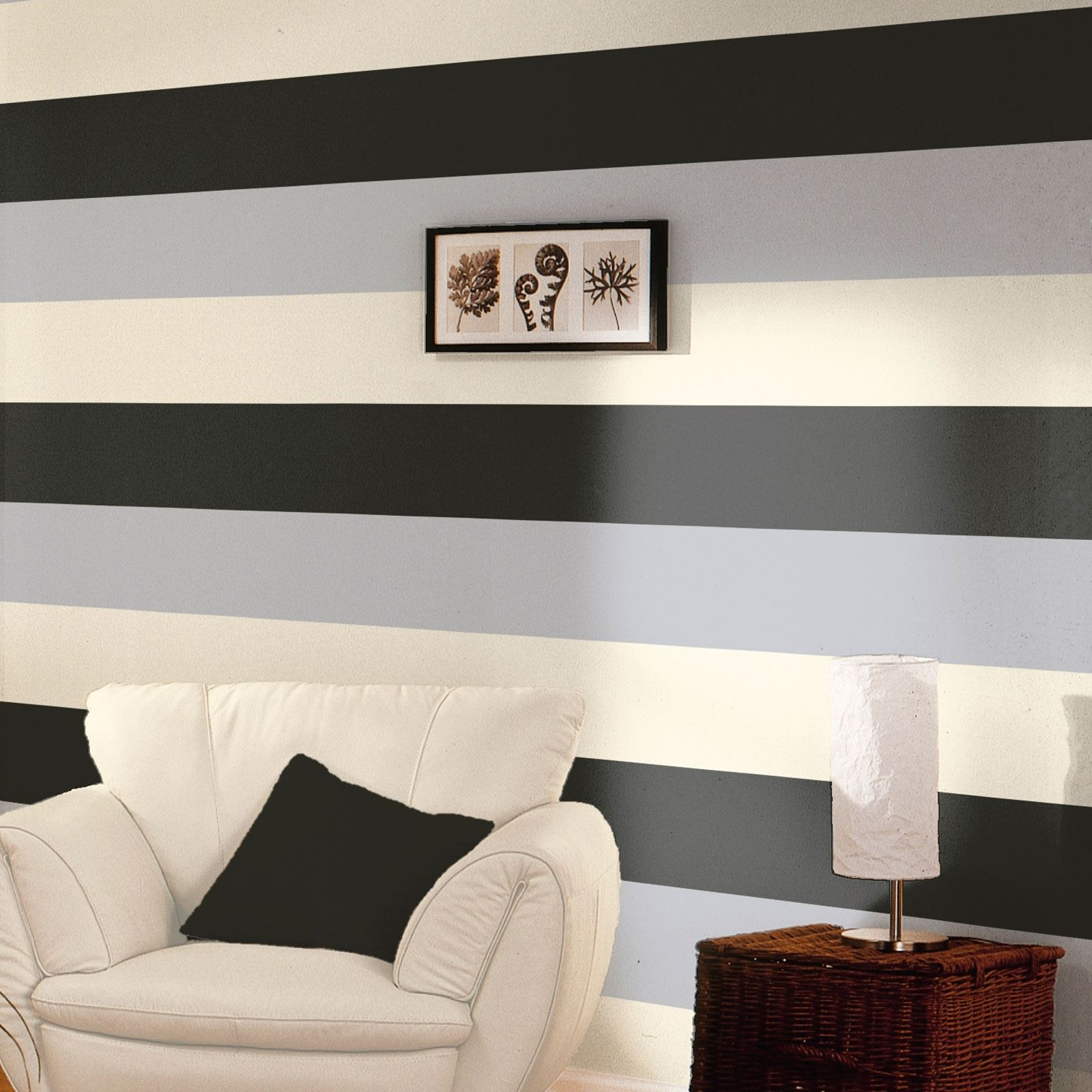 Stripe wallpaper new feature wall lime chocolate grey orange more free p p ebay for Cream wallpaper for living room