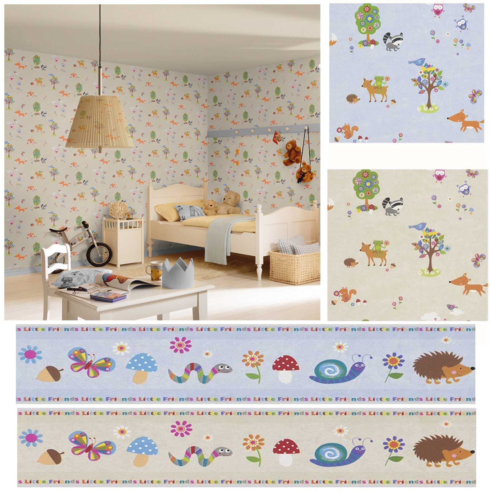 woodland animals wallpaper borders bedroom nursery sand neutral blue ebay. Black Bedroom Furniture Sets. Home Design Ideas