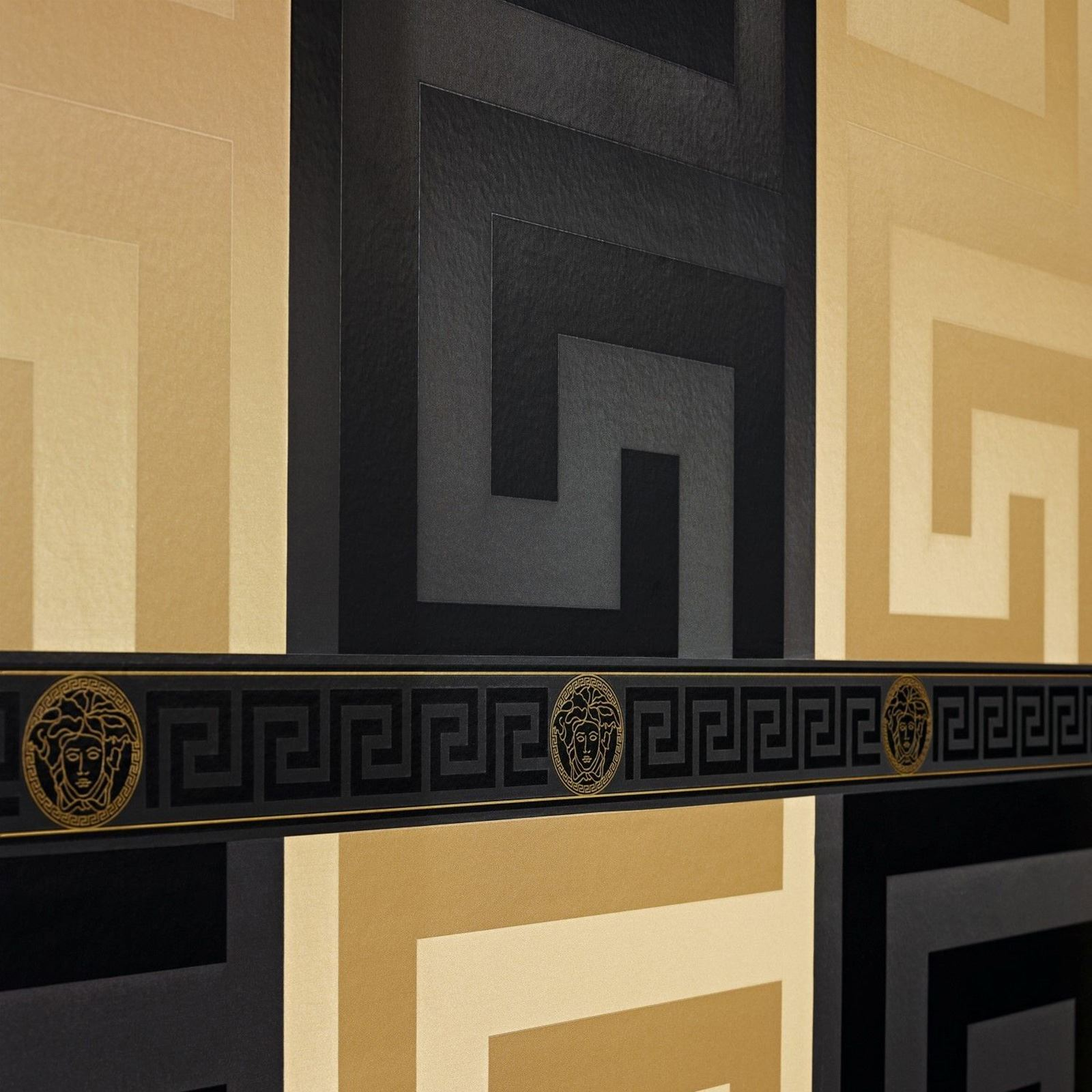 Greek Key Wall Decor : Versace designer wallpaper and border range gold silver
