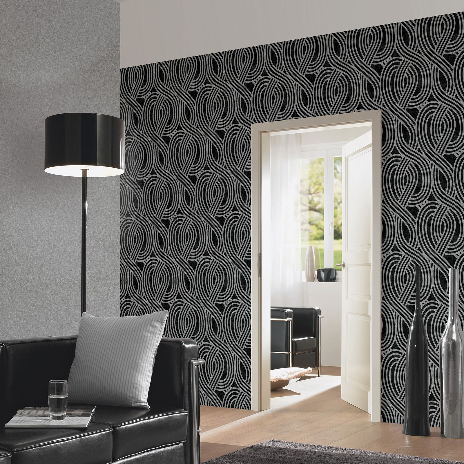 P s carat geometric glitter stripes wallpaper feature wall for Black feature wall living room