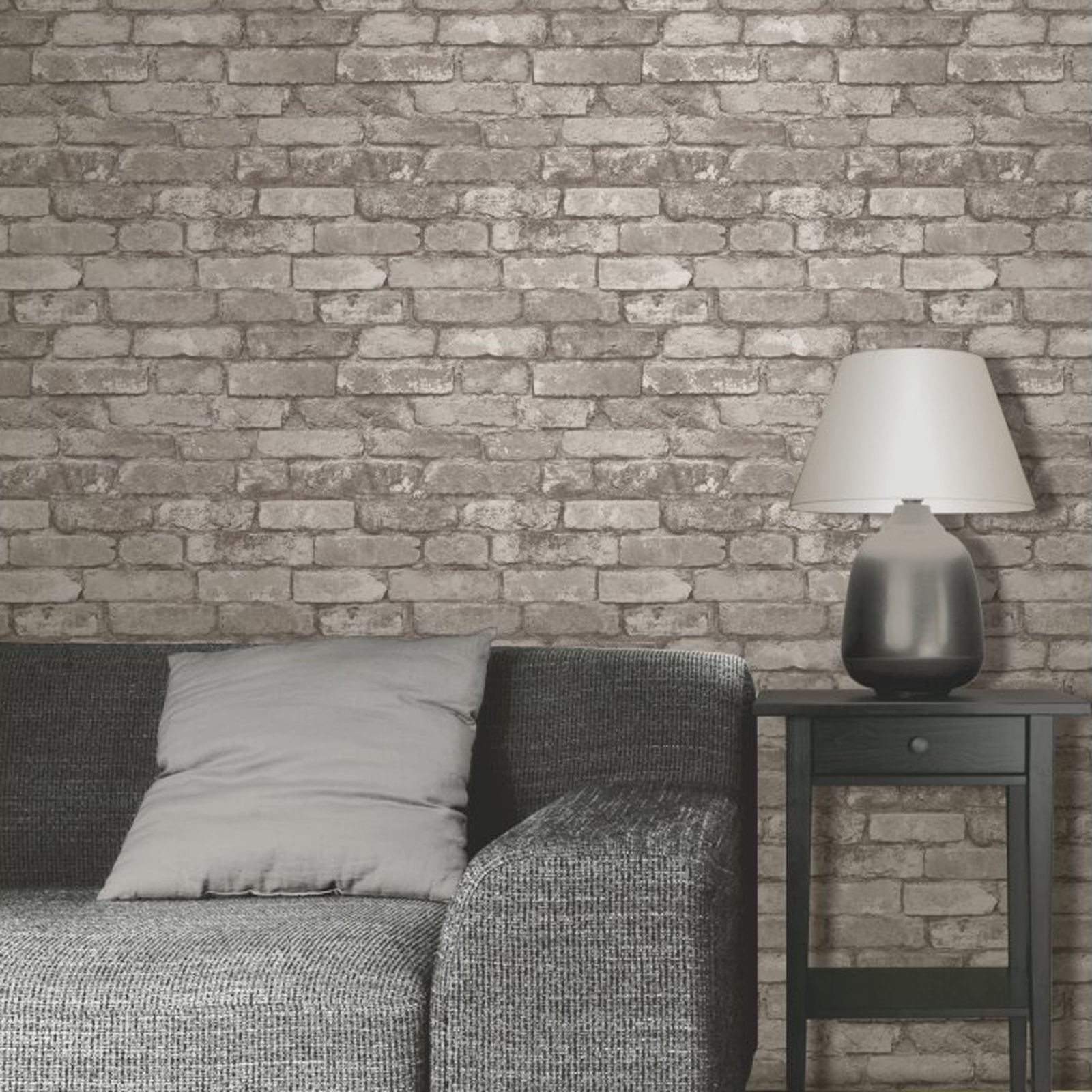 Rustic brick effect wallpaper 10m silver grey new fine for Brick wallpaper bedroom ideas