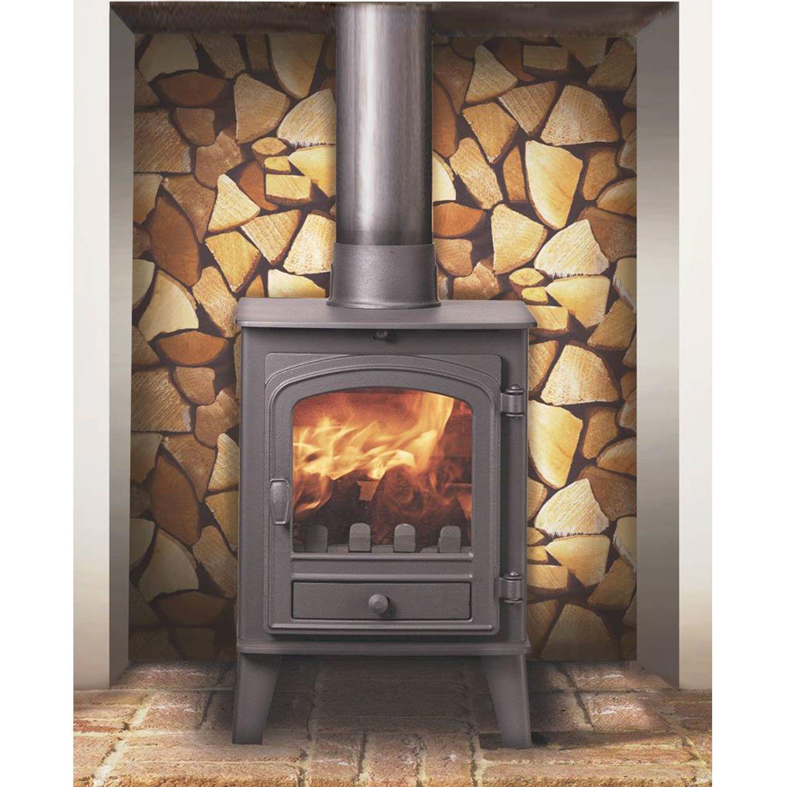 Schwarze Backstein Tapete : Room Decor Wood Burner