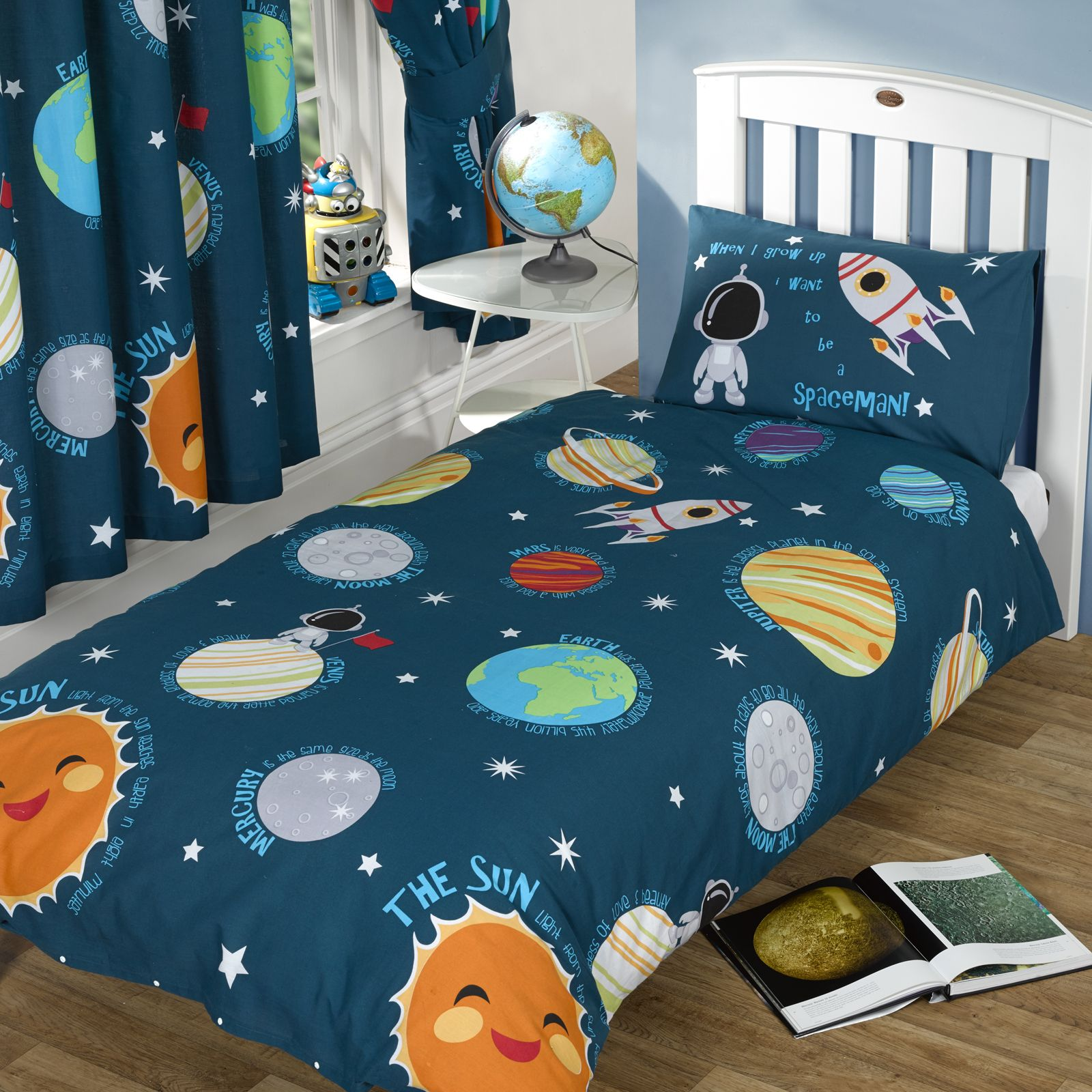 SOLAR SYSTEM SINGLE DUVET COVER SET NEW BOYS SPACEMAN ...