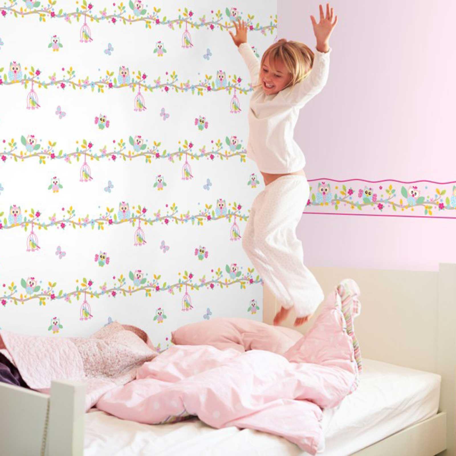 Patchwork Tapete Kinderzimmer : Owl Girl Bedroom Borders
