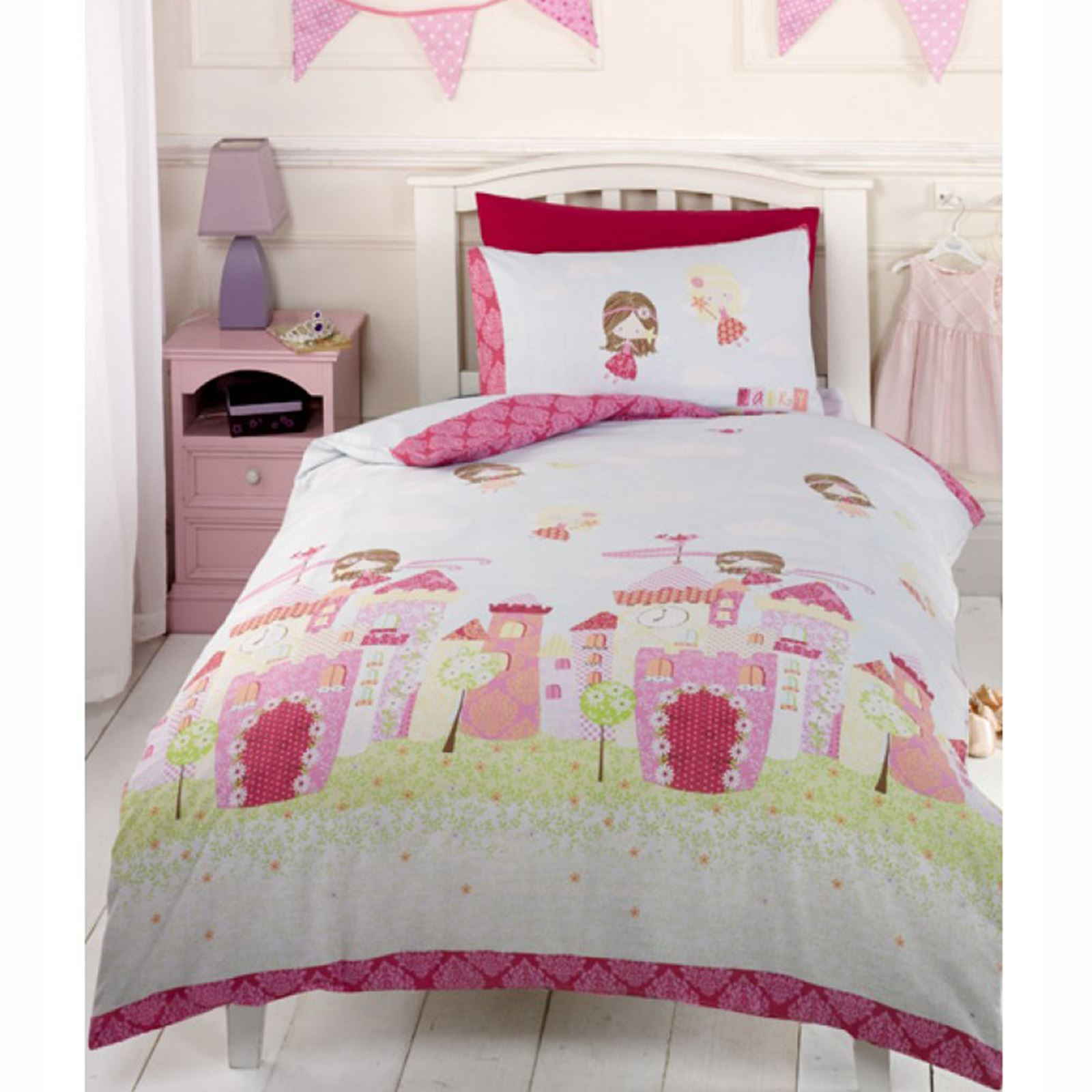 Fairy Castle Junior Duvet Set Matching Lined Curtains 72 Toddler Bedding Ebay