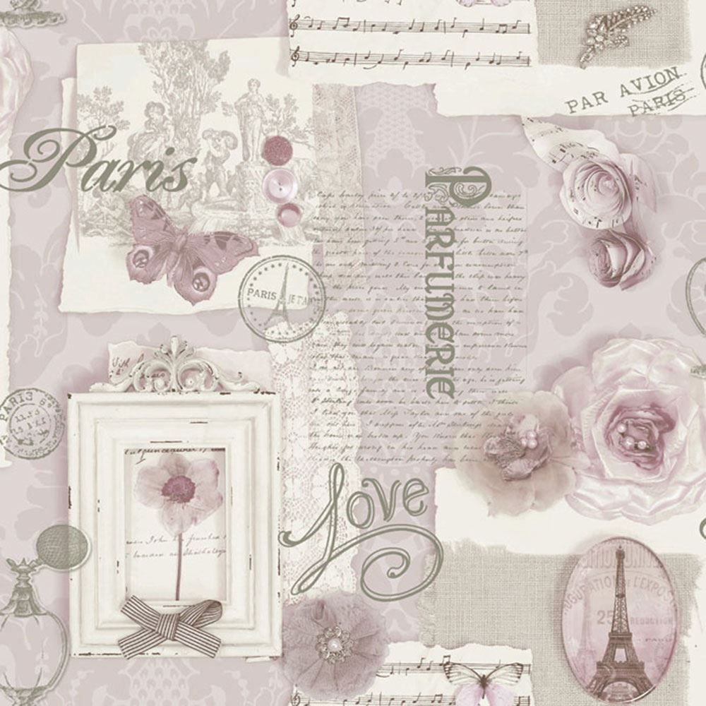 Felicity paris wallpaper soft pink arthouse 665403 shabby chic ebay - Papier peint shabby chic ...