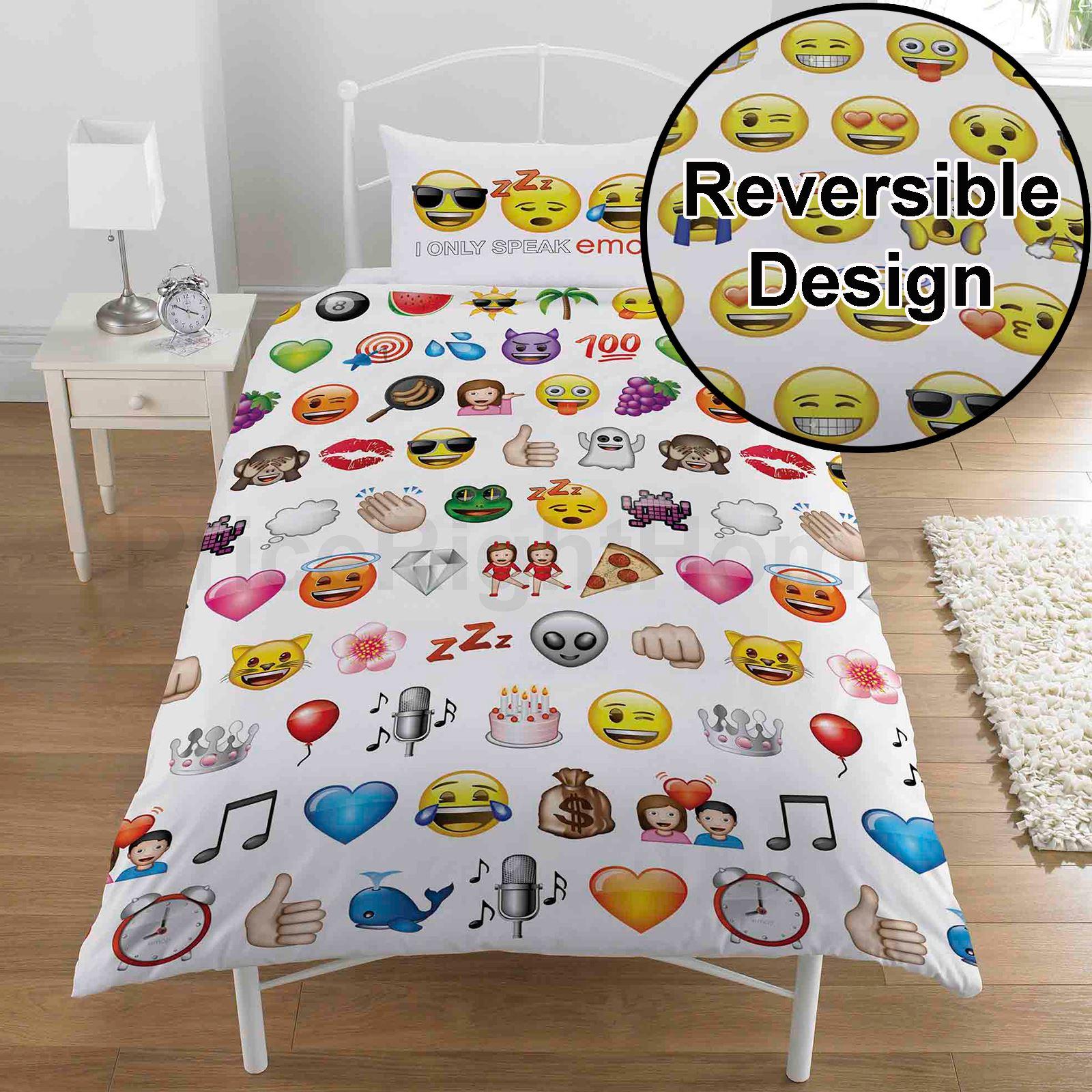 Emoji multi single duvet cover pillowcase set bedding for Emoji bedroom ideas