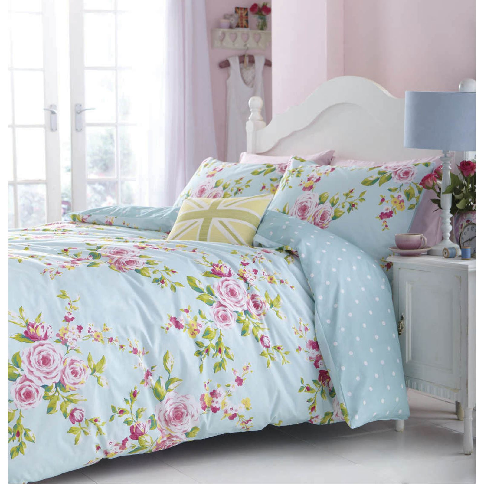 Catherine Lansfield Duck Egg Blue Floral Canterbury King