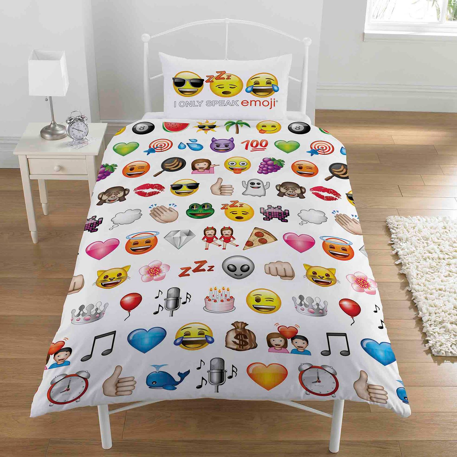 Emoji multi single duvet cover pillowcase set bedding for Taille housse couette pour lit 180x200