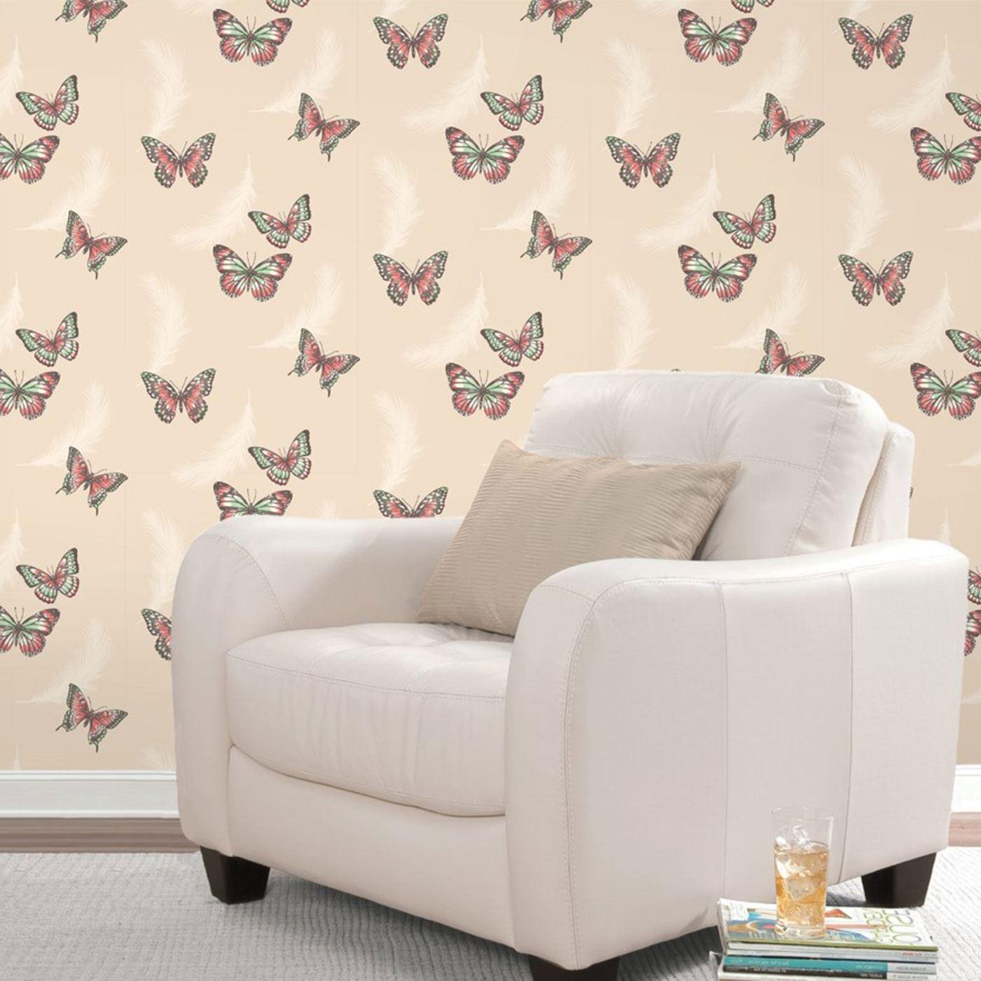 Butterflies cream coral wallpaper bedroom lounge room for Cream wallpaper for walls