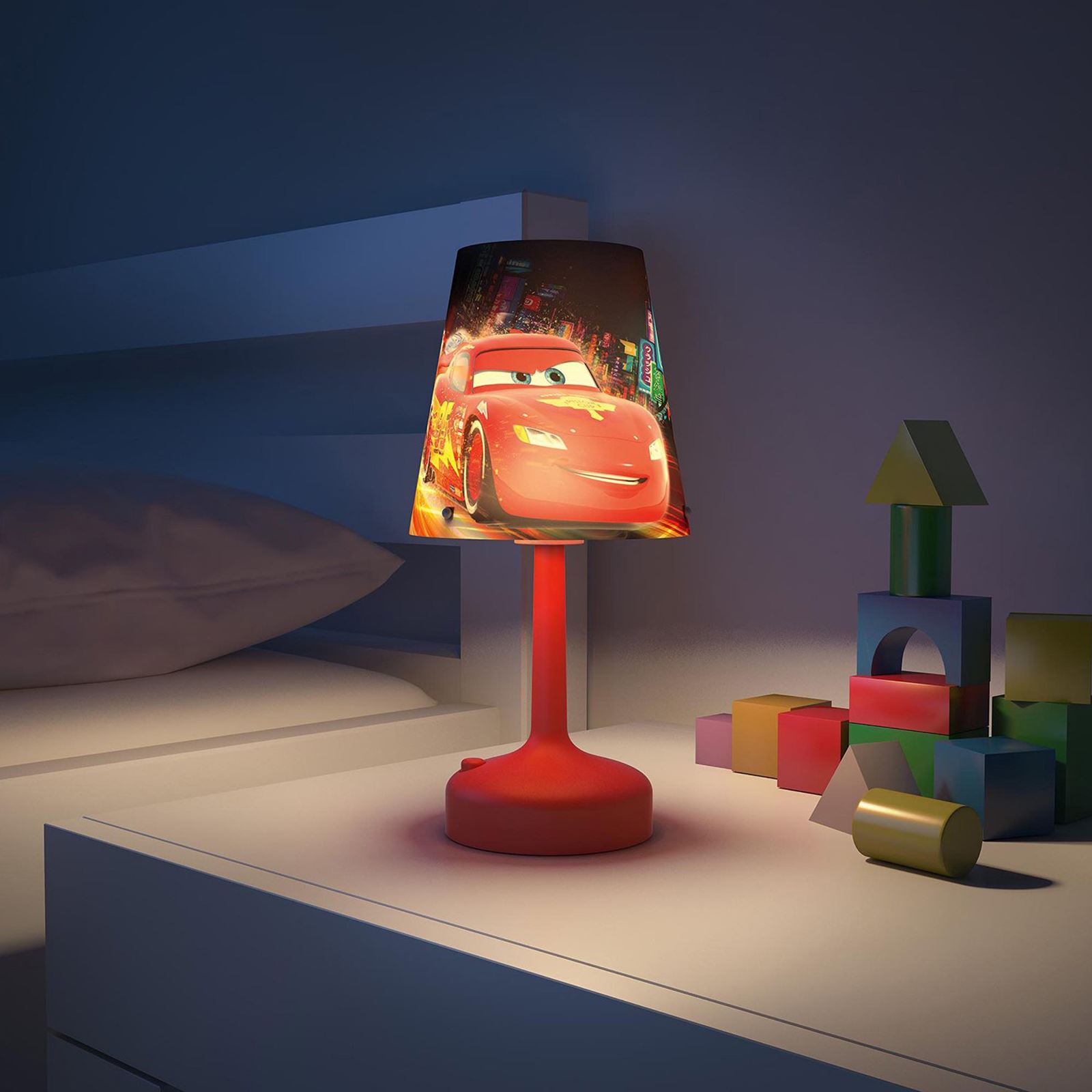 Disney Table Lamp : Disney cars red portable table lamp kids black bedroom