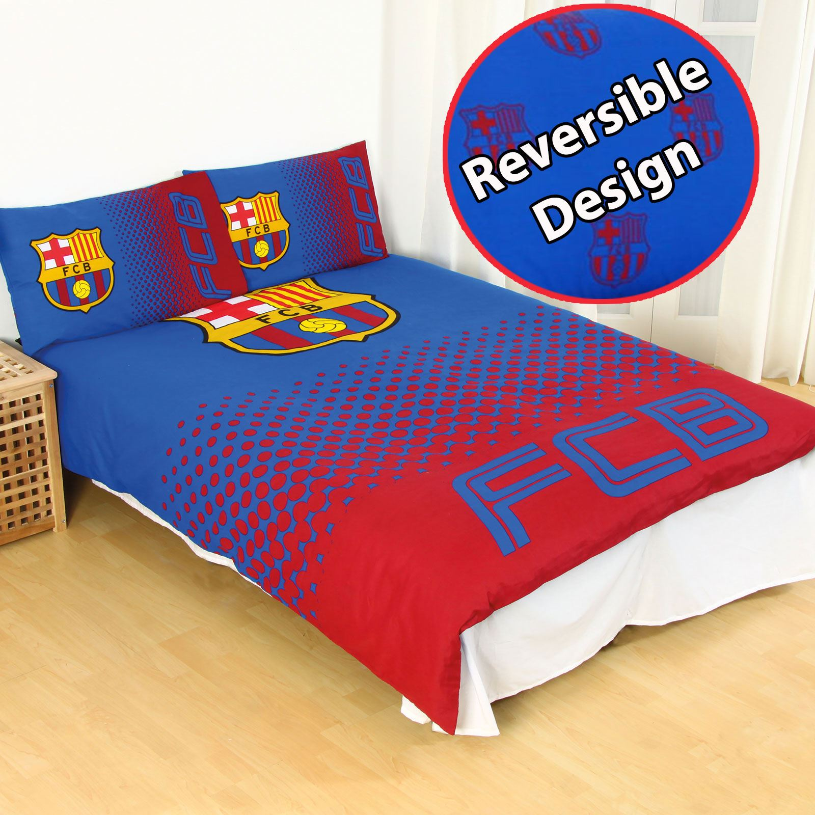official fc barcelona fade reversible double duvet cover