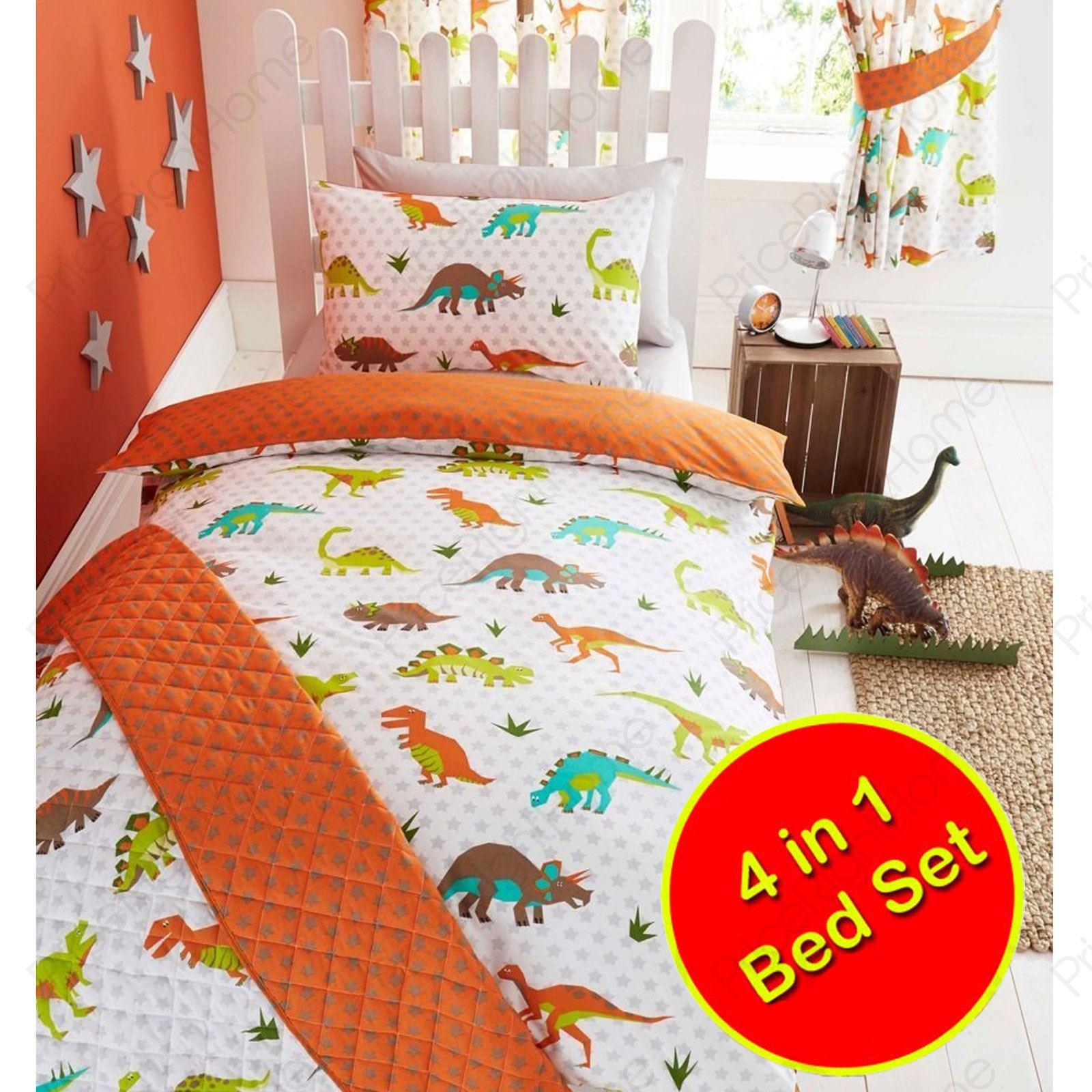 Prehistoric Dinosaur 4 In 1 Toddler Bed Bedding Bundle