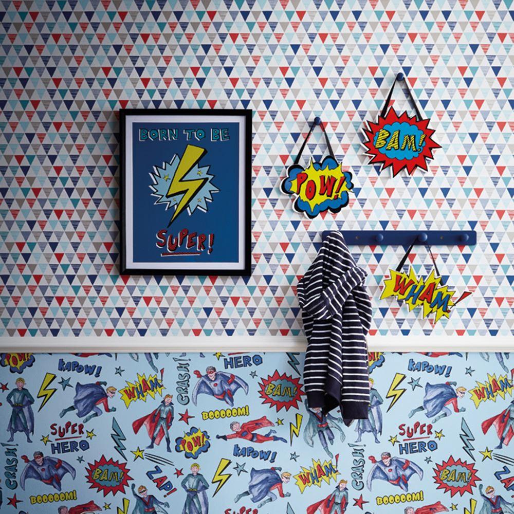JESTER GEOMETRIC WALLPAPER BRIGHT RED BLUE KIDS BEDROOM