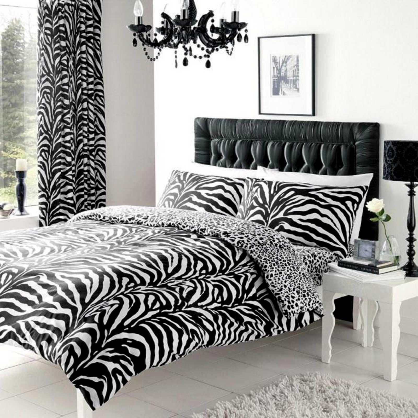 zebra and leopard print king size reversible duvet cover set animal bedding ebay. Black Bedroom Furniture Sets. Home Design Ideas
