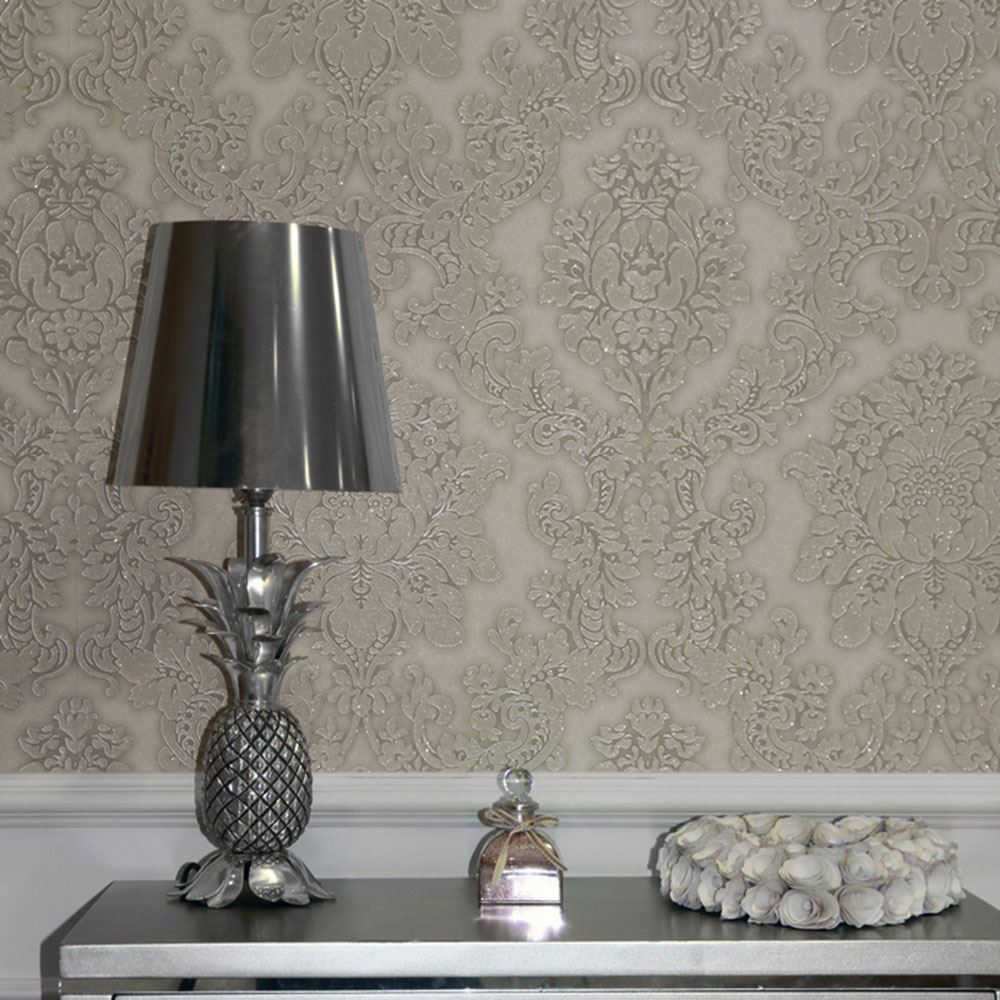 Arthouse vicenza damask wallpaper feature wall taupe grey black available ebay - Wall taupe ...