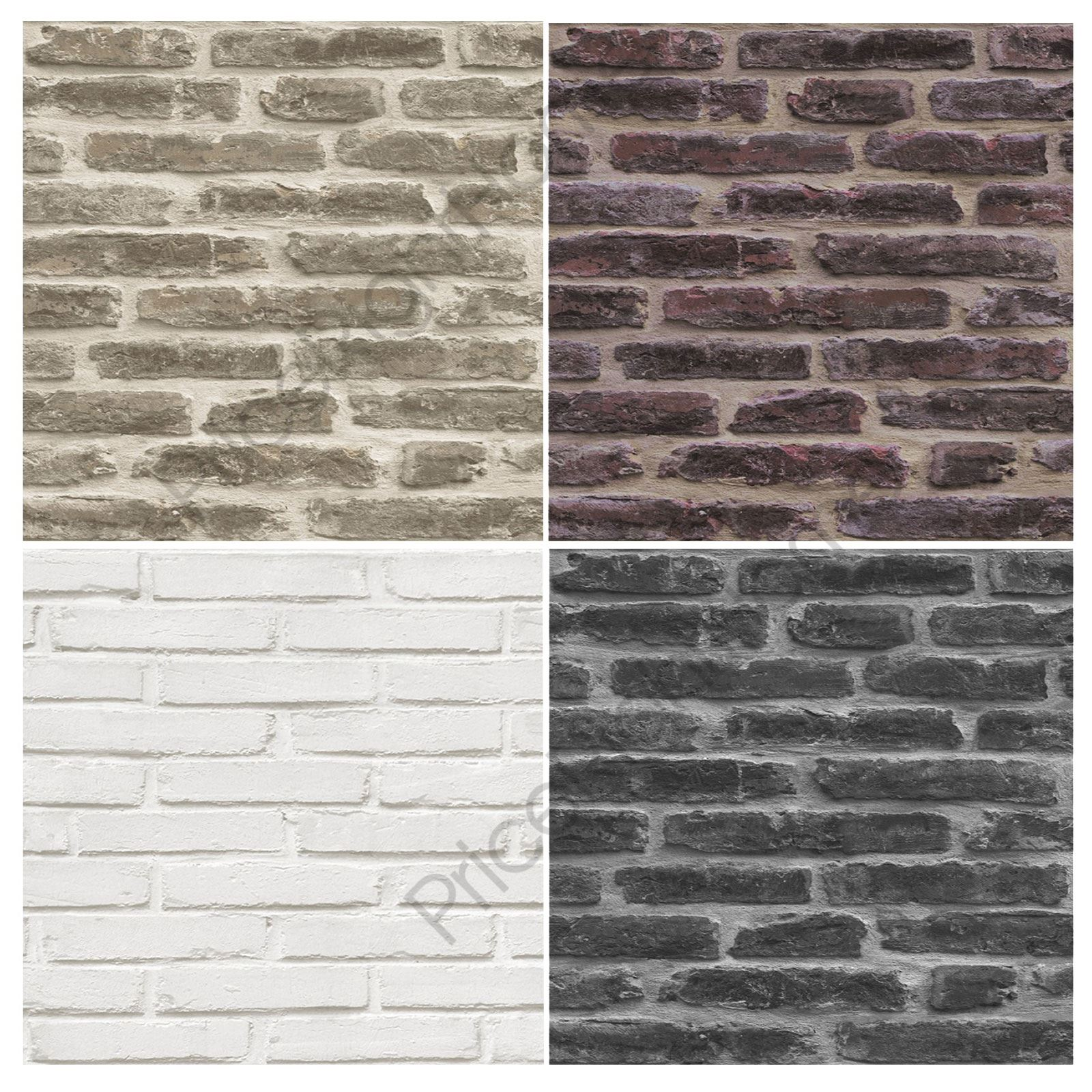 Rustic brick wallpaper roll red brown white black for Black brick wallpaper bedroom