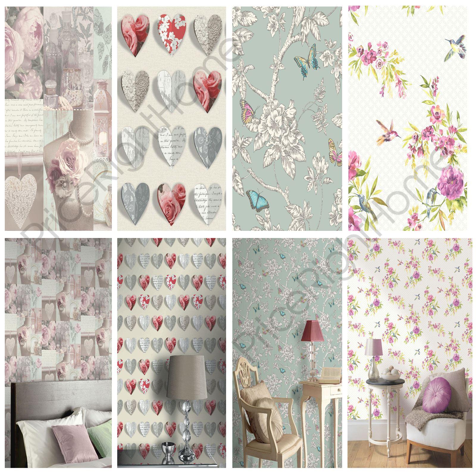 shabby chic papier peint fleur en design divers d coration murale neuf ebay. Black Bedroom Furniture Sets. Home Design Ideas