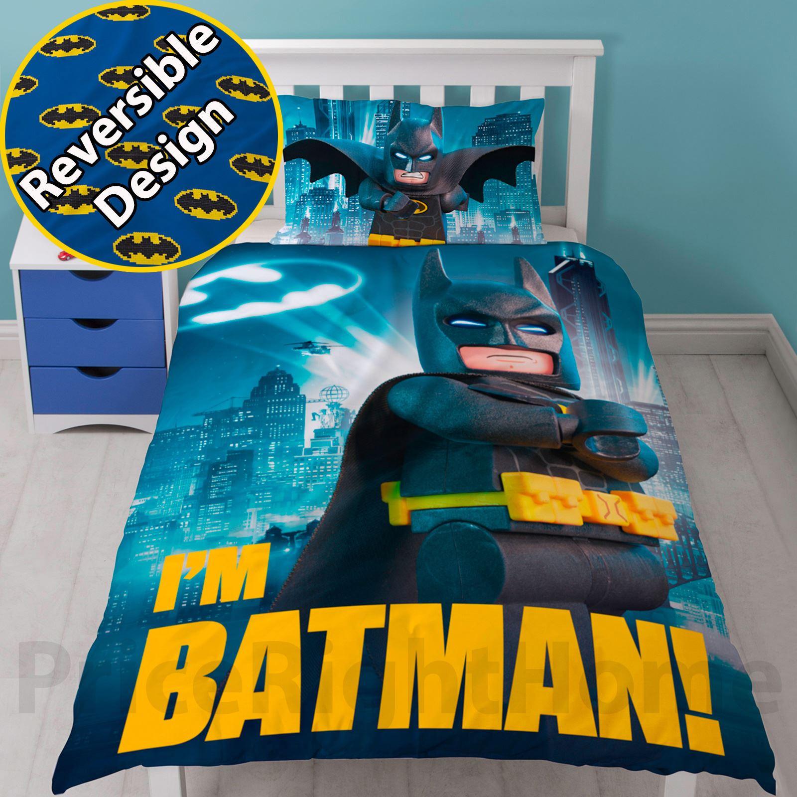 LEGO BATMAN MOVIE HERO SINGLE DUVET COVER AND PILLOWCASE SET NEW