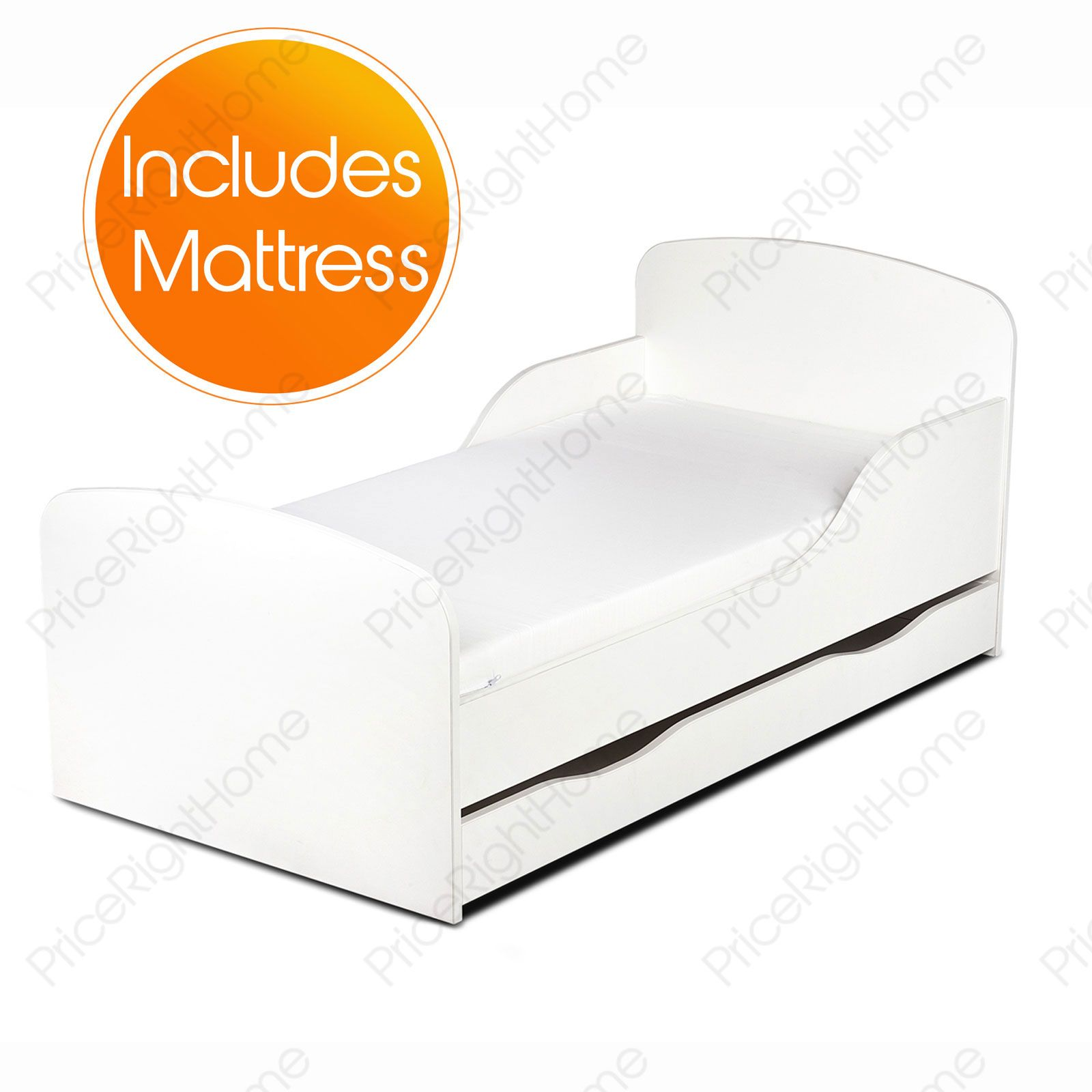 PLAIN WHITE MDF TODDLER BED MATTRESS WITH STORAGE KIDS EBay