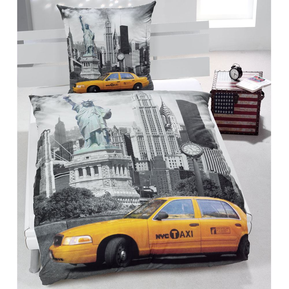 New york city bedding single duvet cover sets usa skyline for Housse de couette usa