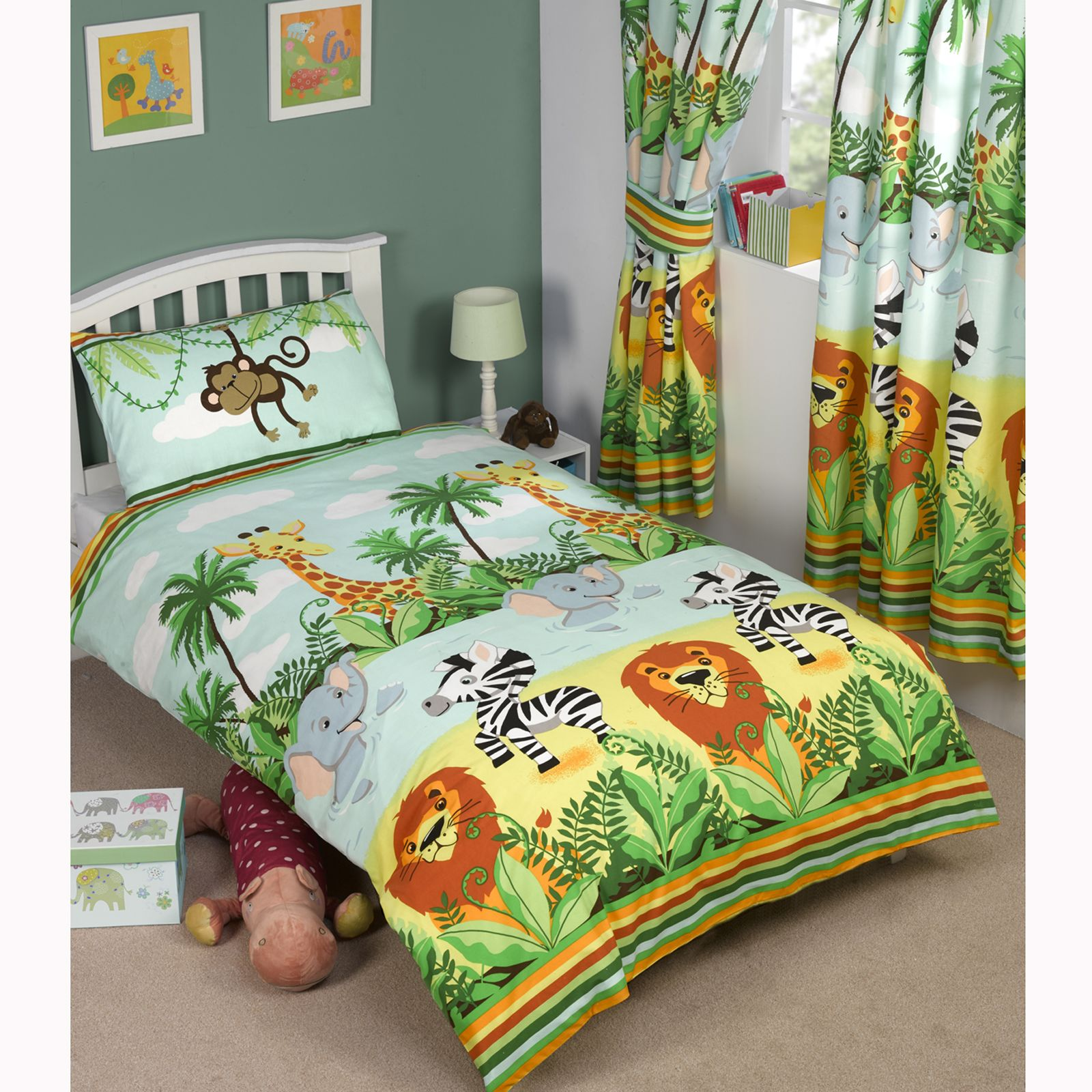 jungle tastique junior lit b b b b housse de couette lion l phant ebay. Black Bedroom Furniture Sets. Home Design Ideas
