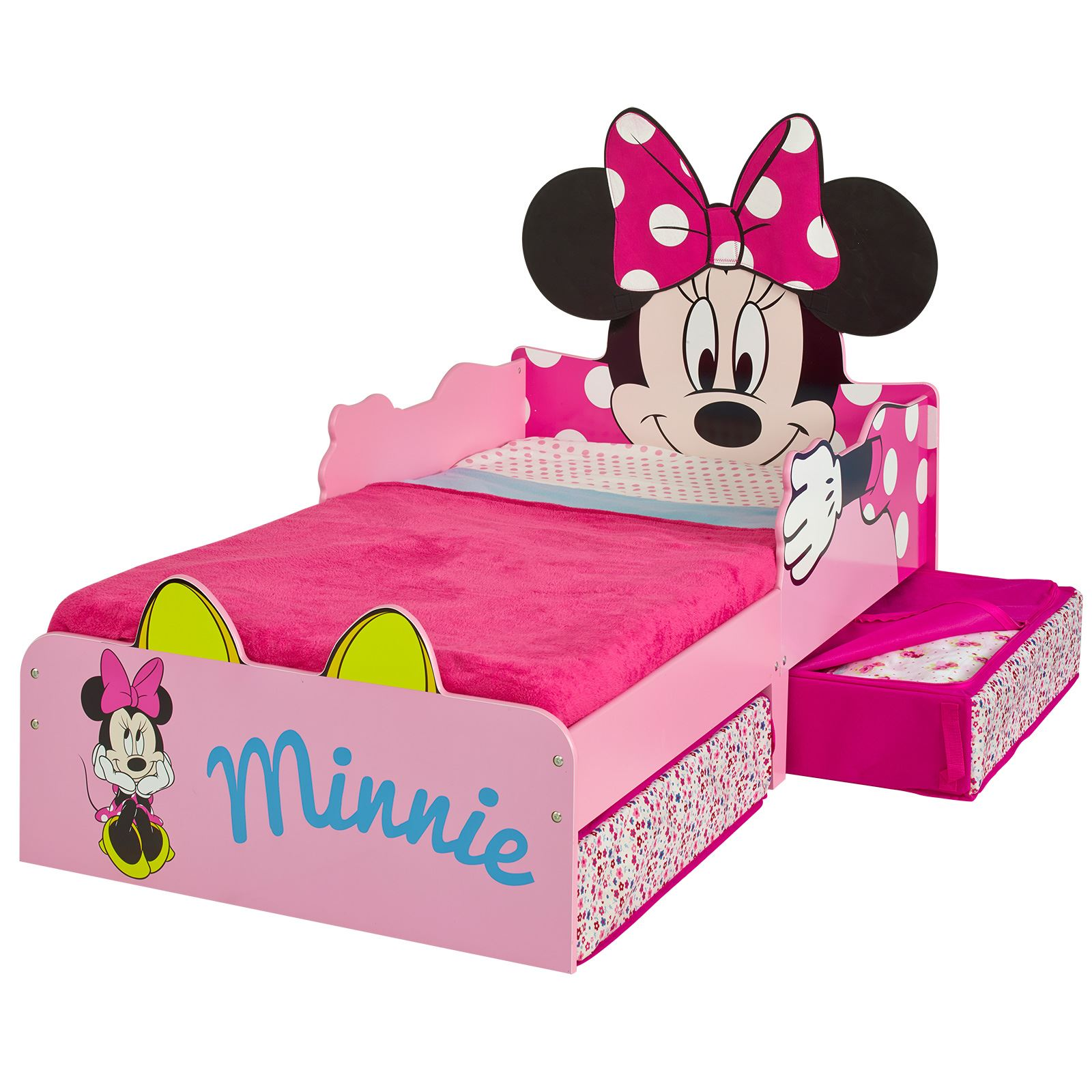 MINNIE MOUSE MDF TODDLER BED WITH STORAGE MATTRESS NEW