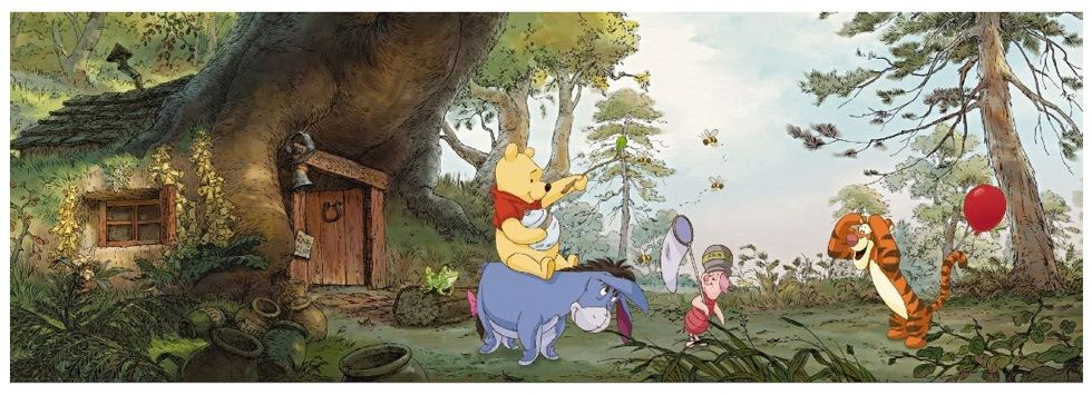 winnie the pooh wallpaper wall mural 368 x 127cms new room. Black Bedroom Furniture Sets. Home Design Ideas