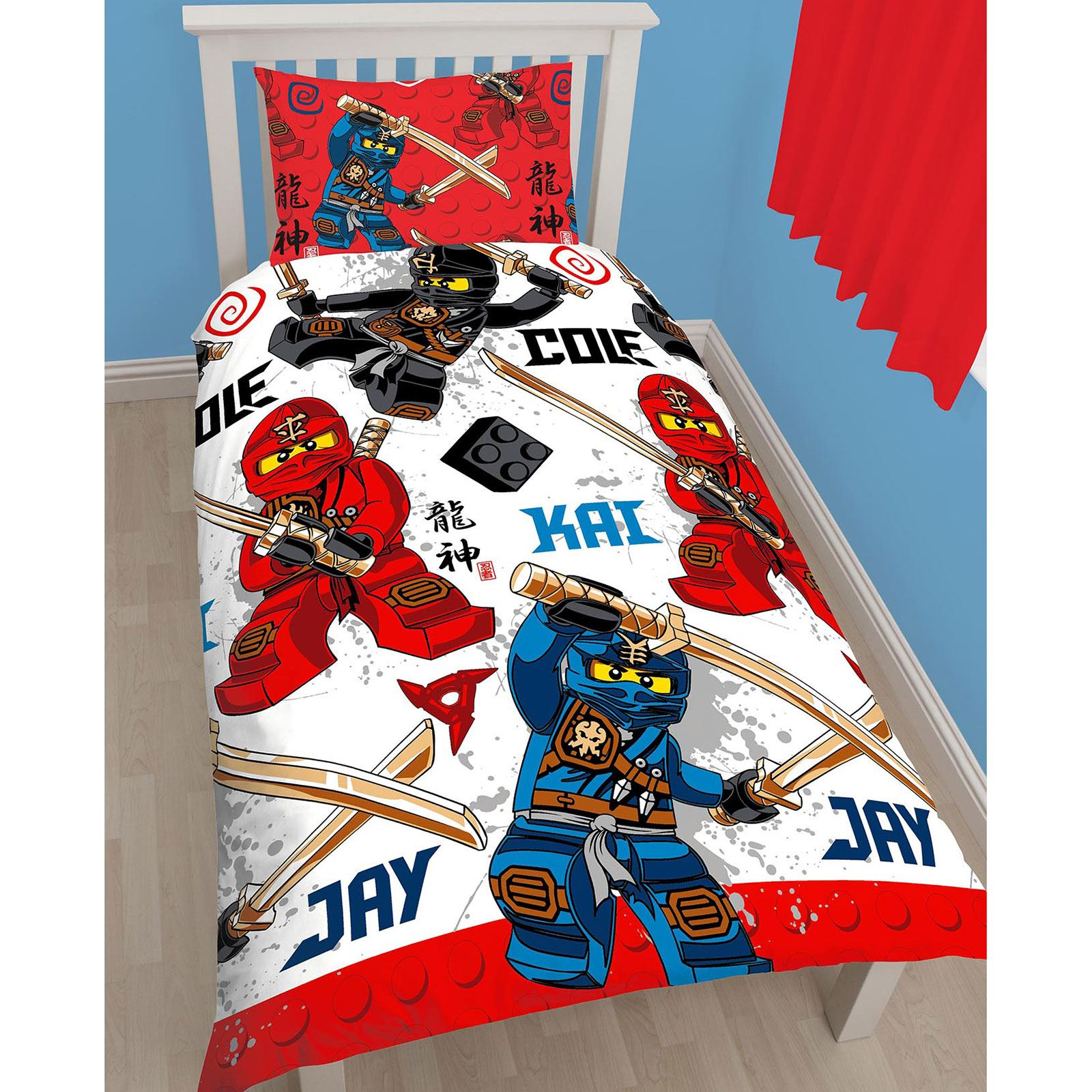 lego ninjago warrior einzelbettbezug set drehbar design kinder bettw sche ebay. Black Bedroom Furniture Sets. Home Design Ideas