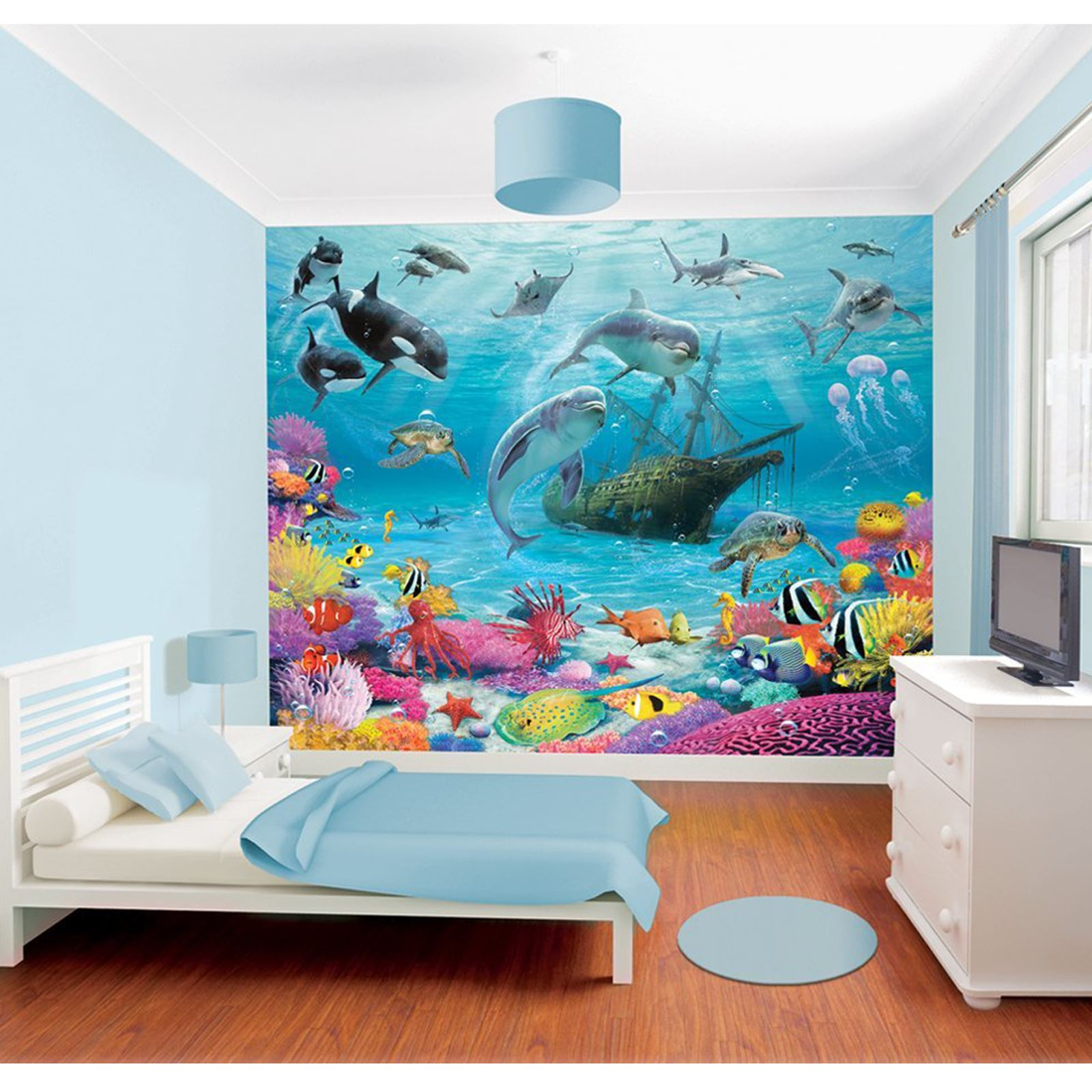 Walltastic wallpaper wall murals kids bedroom peppa for Children mural wallpaper