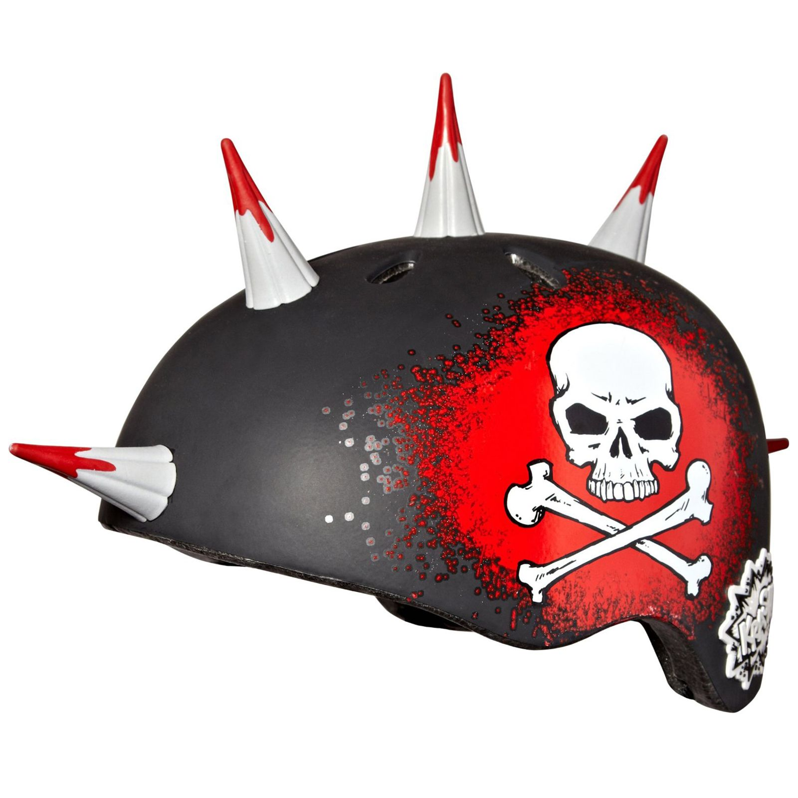 Krash Jolly Roger Spikes Kids Safety Helmet NEW Skull