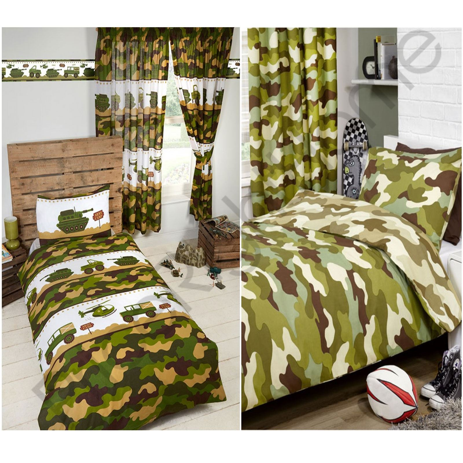 Army Camp Camouflage Duvet Covers Bedding Matching Curtains Wallpaper Border New
