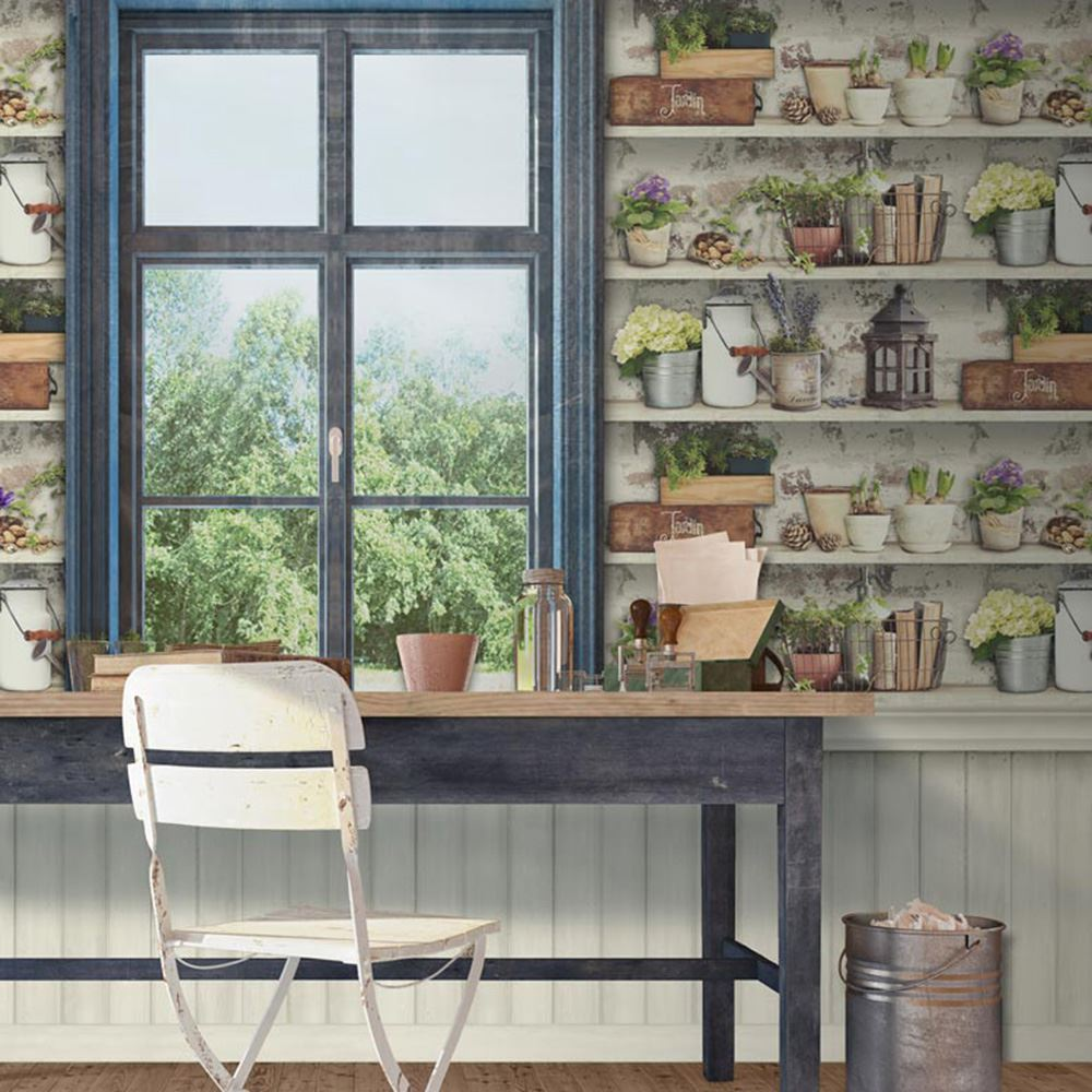 potting shed wallpaper muriva 102565 farm shabby chic ebay. Black Bedroom Furniture Sets. Home Design Ideas