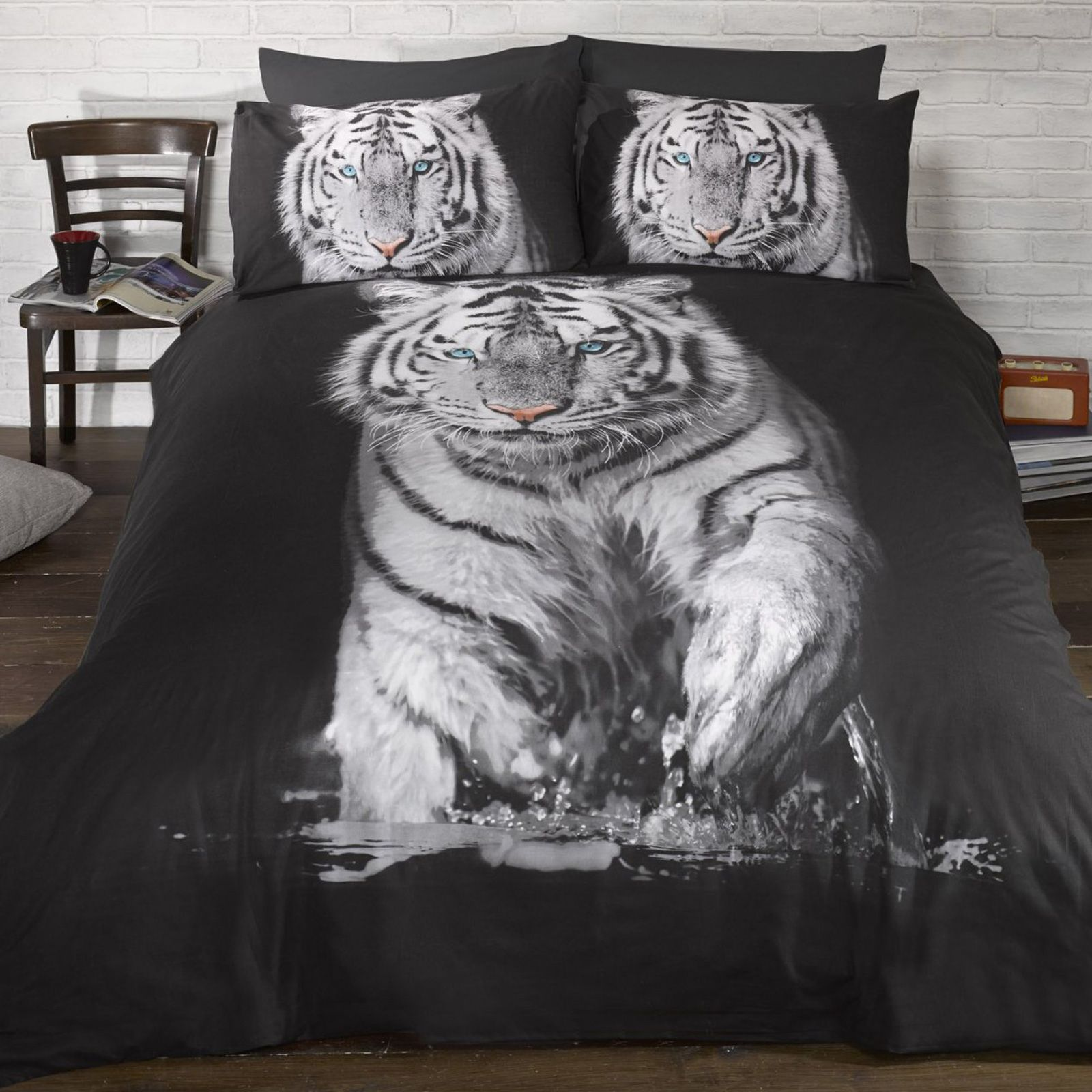 White tiger single duvet cover pillowcase set new bedding for Couette de lit 240x260