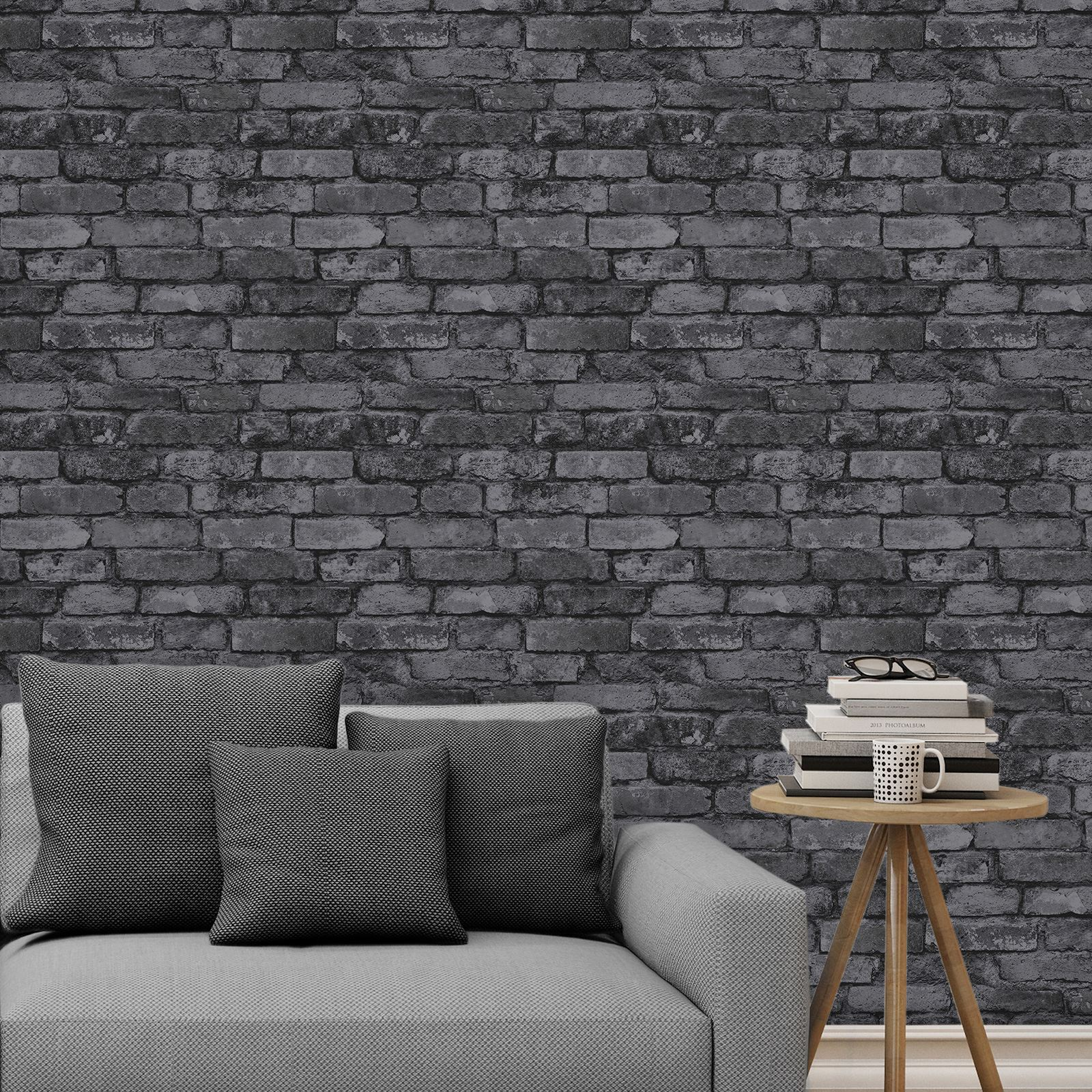 Rasch fine decor 10m luxury brick effect wallpaper stone for Grey brick wallpaper living room